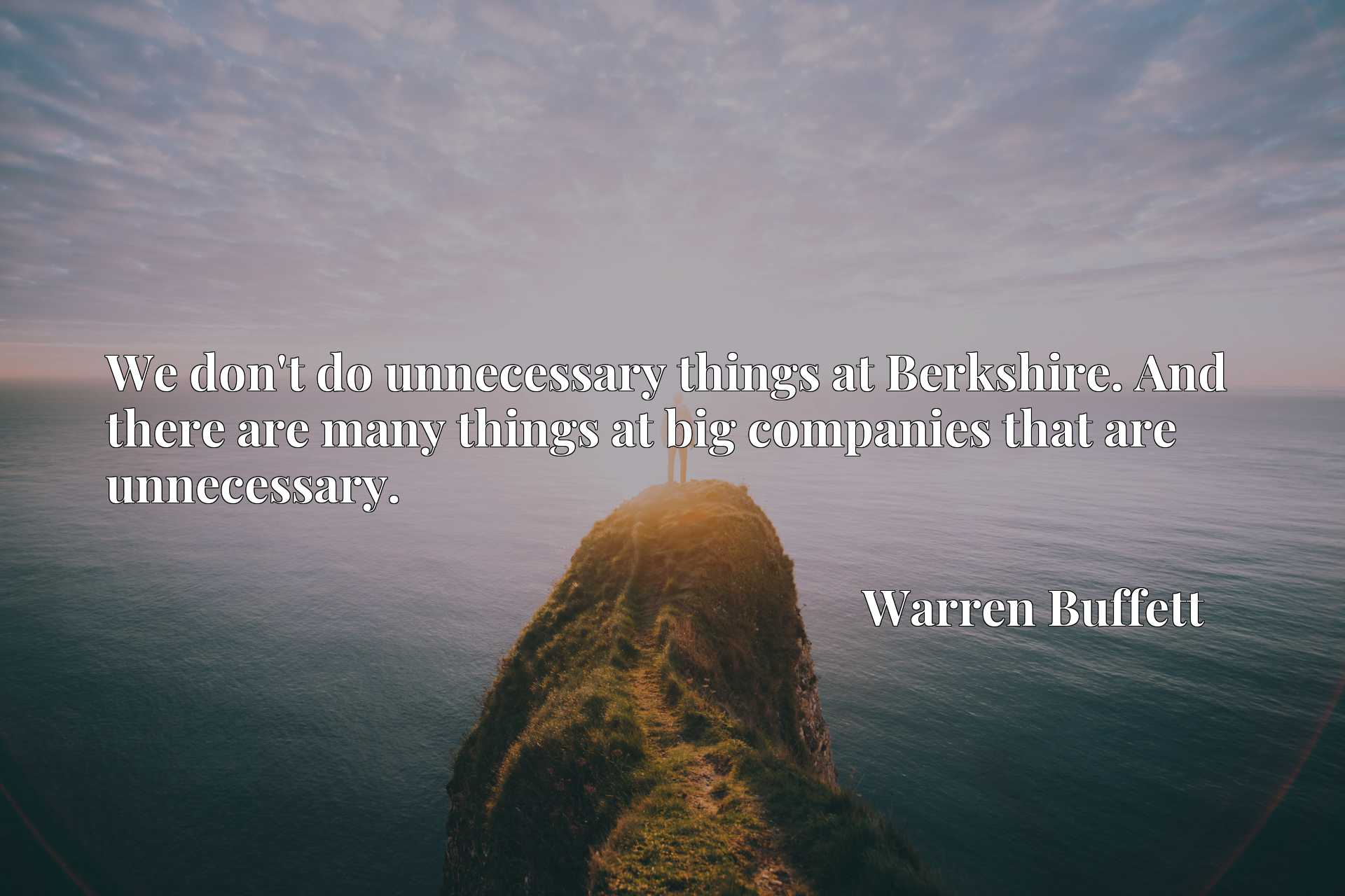 We don't do unnecessary things at Berkshire. And there are many things at big companies that are unnecessary.