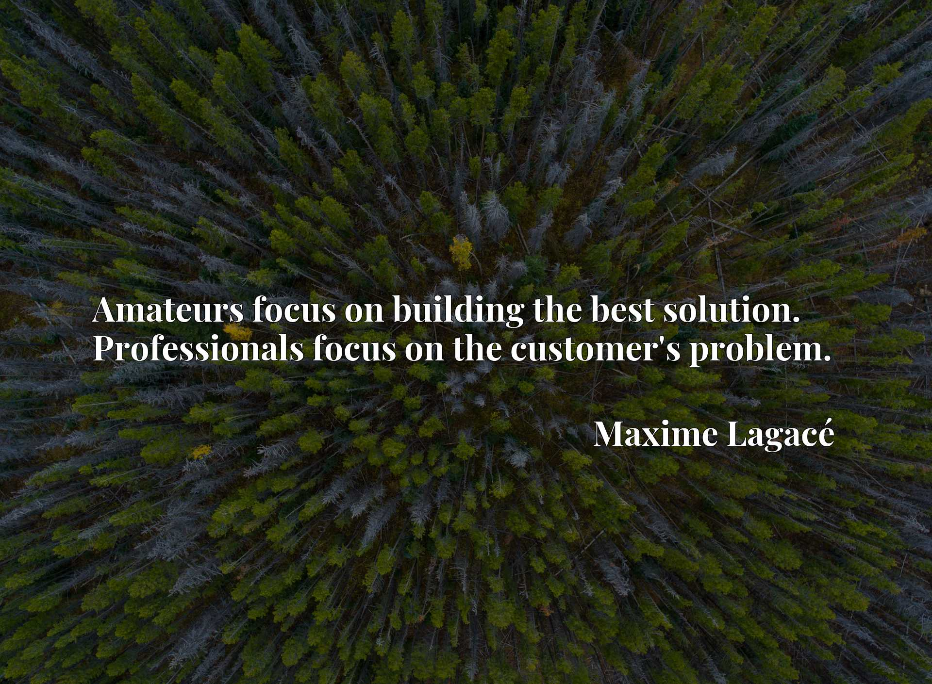 Amateurs focus on building the best solution. Professionals focus on the customer's problem.