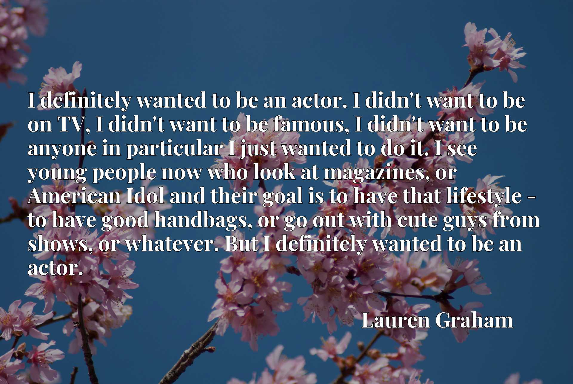 I definitely wanted to be an actor. I didn't want to be on TV, I didn't want to be famous, I didn't want to be anyone in particular I just wanted to do it. I see young people now who look at magazines, or American Idol and their goal is to have that lifestyle - to have good handbags, or go out with cute guys from shows, or whatever. But I definitely wanted to be an actor.
