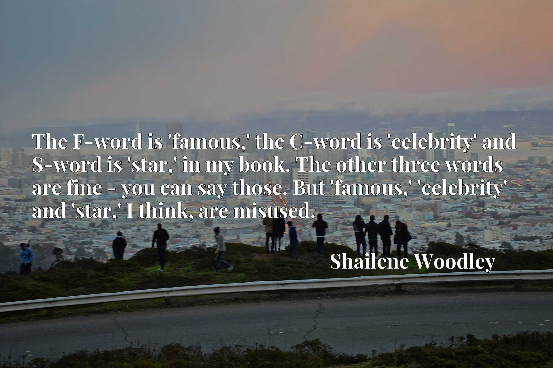 The F-word is 'famous,' the C-word is 'celebrity' and S-word is 'star,' in my book. The other three words are fine - you can say those. But 'famous,' 'celebrity' and 'star,' I think, are misused.