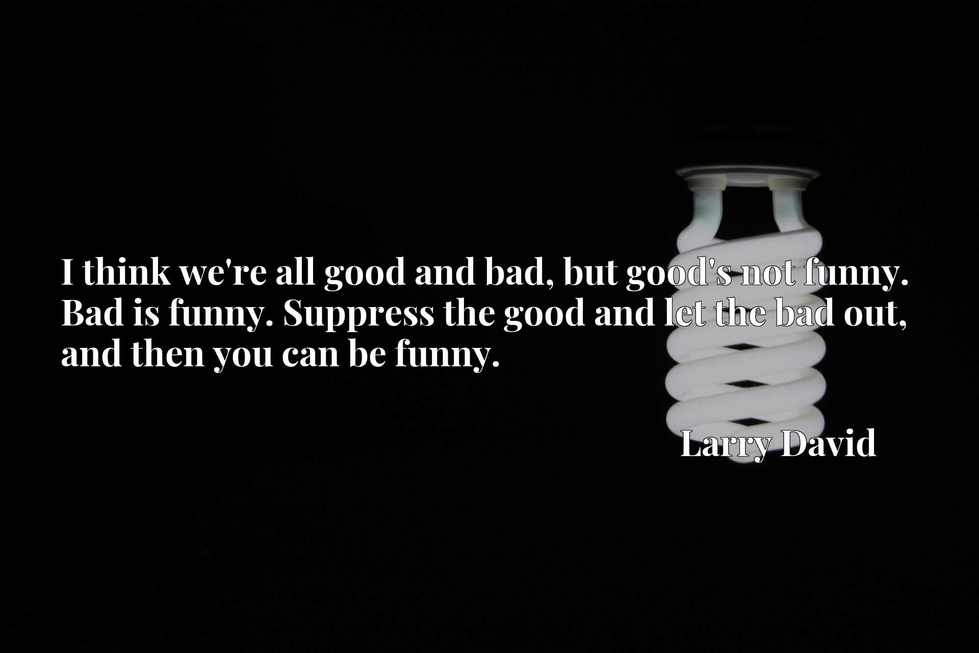 I think we're all good and bad, but good's not funny. Bad is funny. Suppress the good and let the bad out, and then you can be funny.