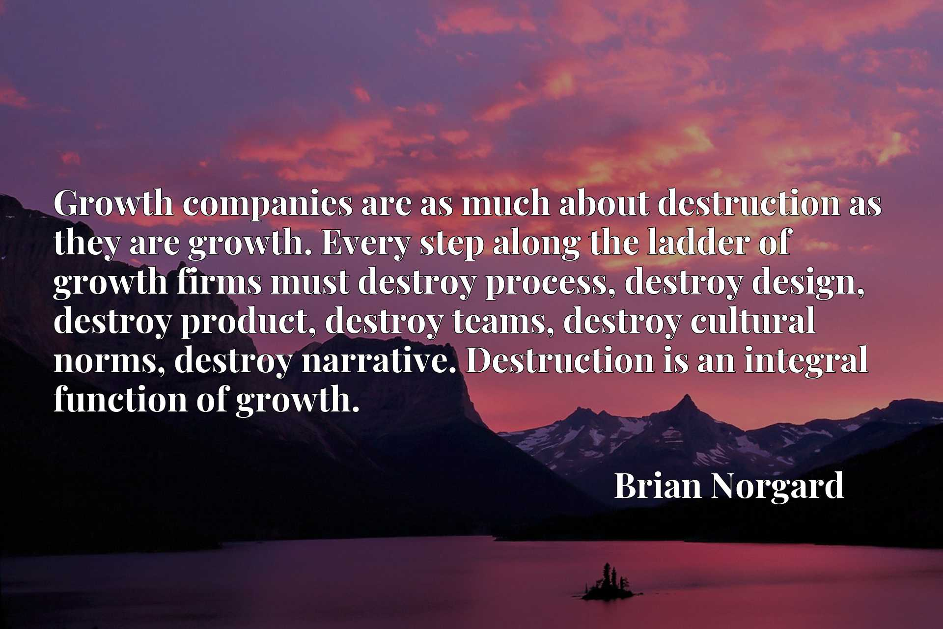 Growth companies are as much about destruction as they are growth. Every step along the ladder of growth firms must destroy process, destroy design, destroy product, destroy teams, destroy cultural norms, destroy narrative. Destruction is an integral function of growth.