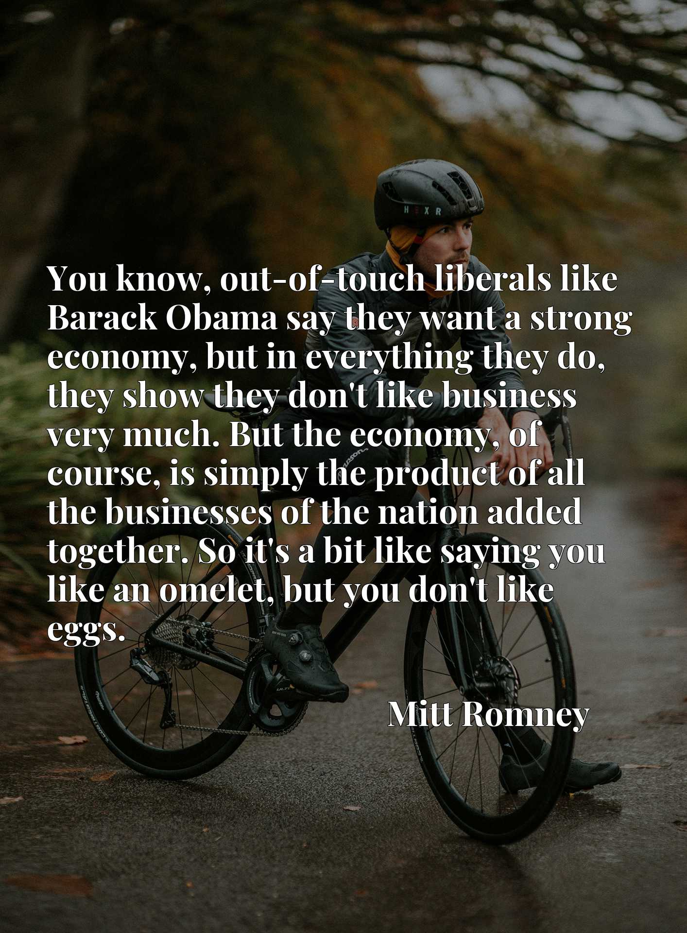 You know, out-of-touch liberals like Barack Obama say they want a strong economy, but in everything they do, they show they don't like business very much. But the economy, of course, is simply the product of all the businesses of the nation added together. So it's a bit like saying you like an omelet, but you don't like eggs.