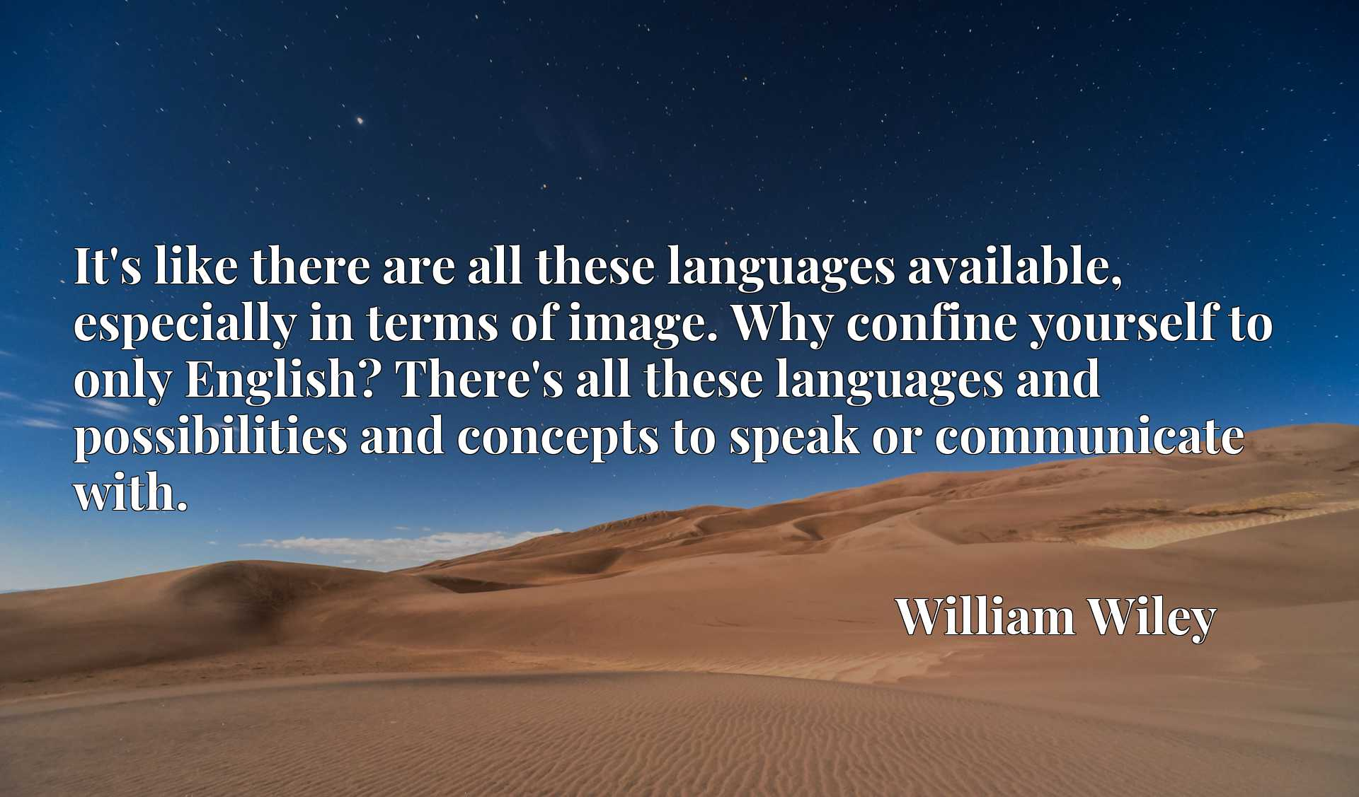It's like there are all these languages available, especially in terms of image. Why confine yourself to only English? There's all these languages and possibilities and concepts to speak or communicate with.