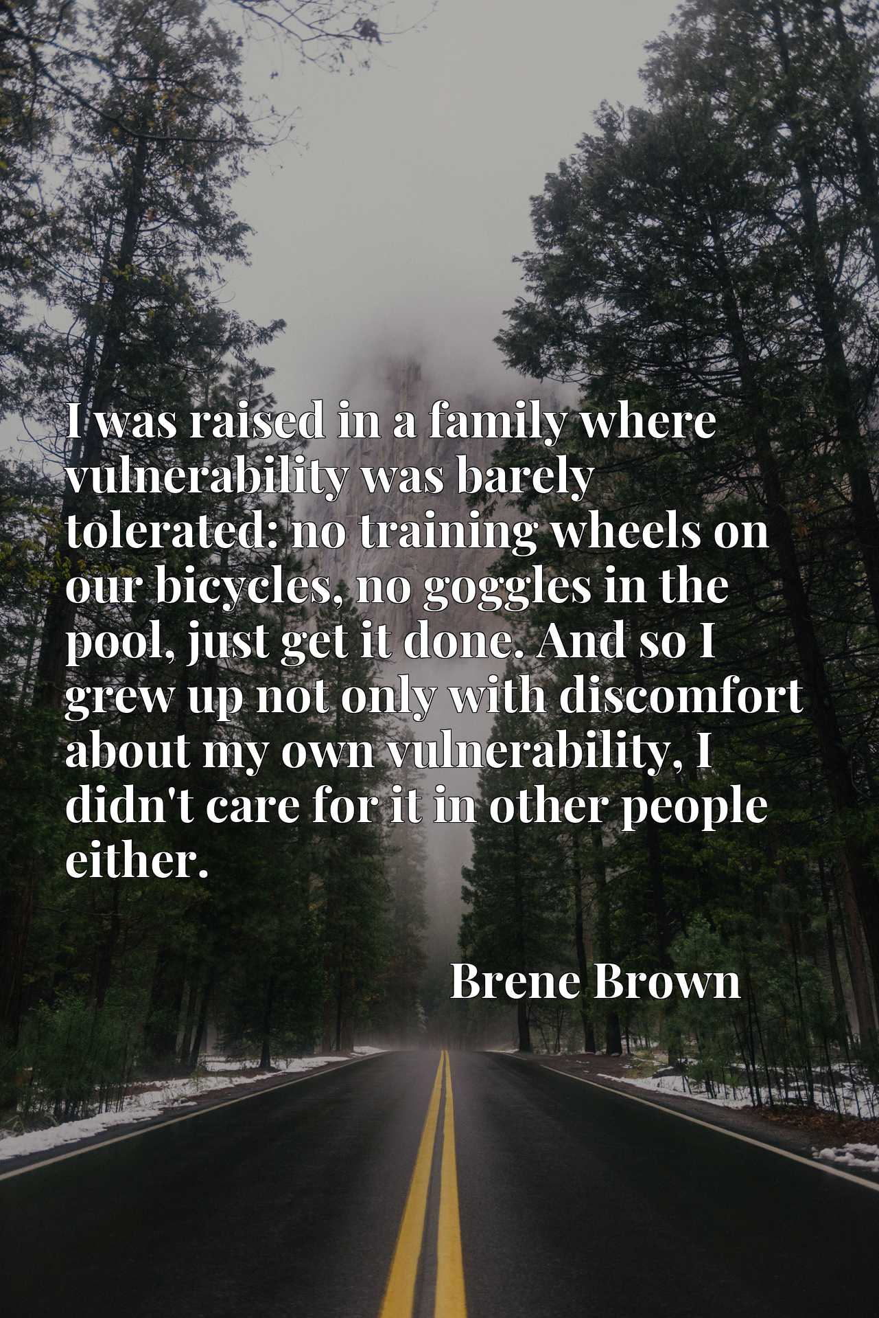 I was raised in a family where vulnerability was barely tolerated: no training wheels on our bicycles, no goggles in the pool, just get it done. And so I grew up not only with discomfort about my own vulnerability, I didn't care for it in other people either.