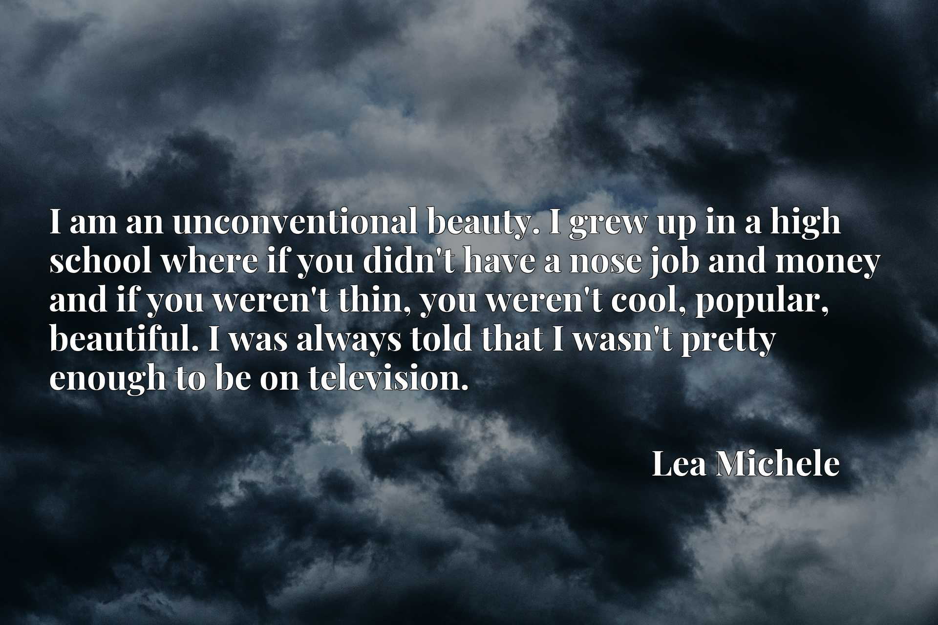 I am an unconventional beauty. I grew up in a high school where if you didn't have a nose job and money and if you weren't thin, you weren't cool, popular, beautiful. I was always told that I wasn't pretty enough to be on television.