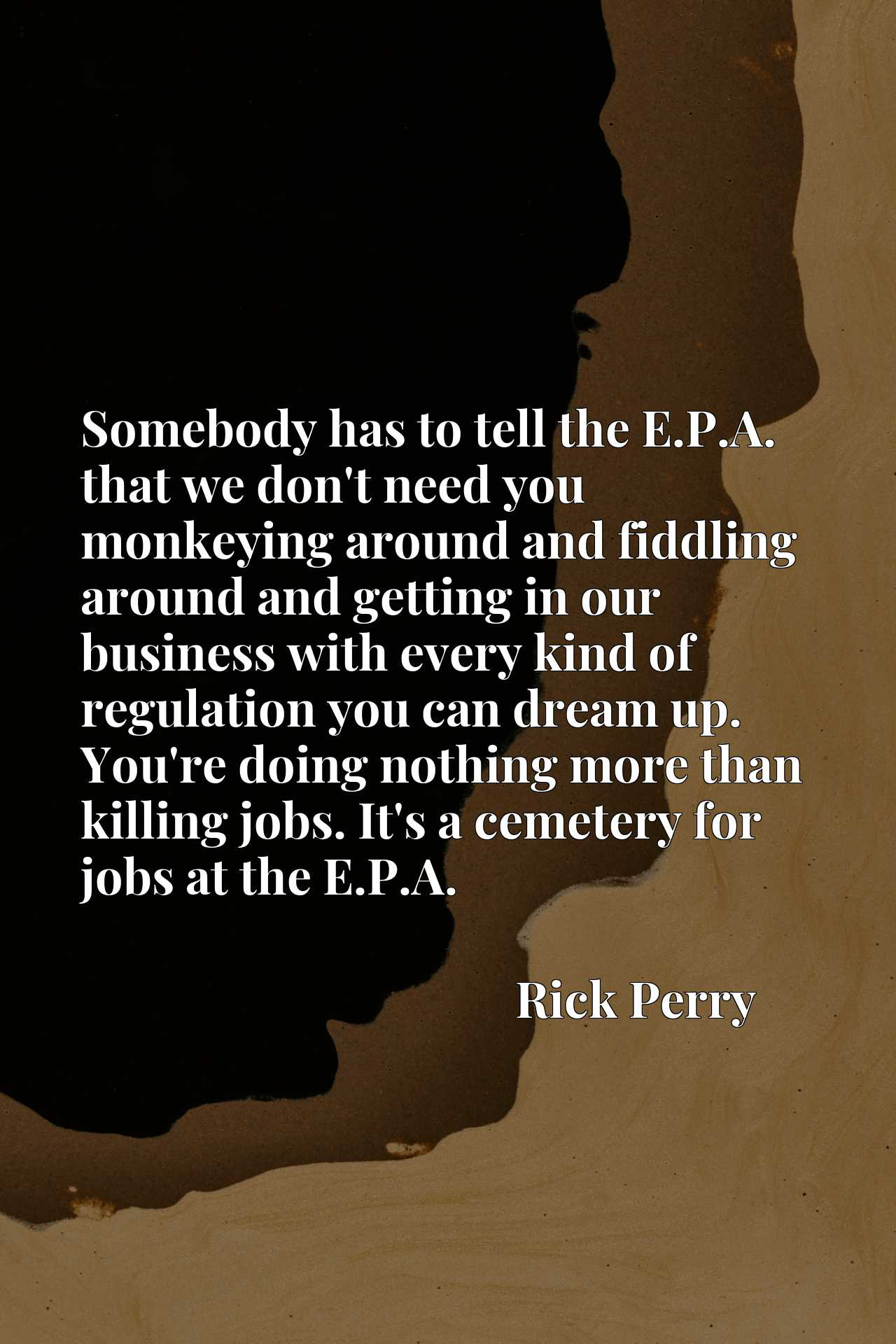 Somebody has to tell the E.P.A. that we don't need you monkeying around and fiddling around and getting in our business with every kind of regulation you can dream up. You're doing nothing more than killing jobs. It's a cemetery for jobs at the E.P.A.