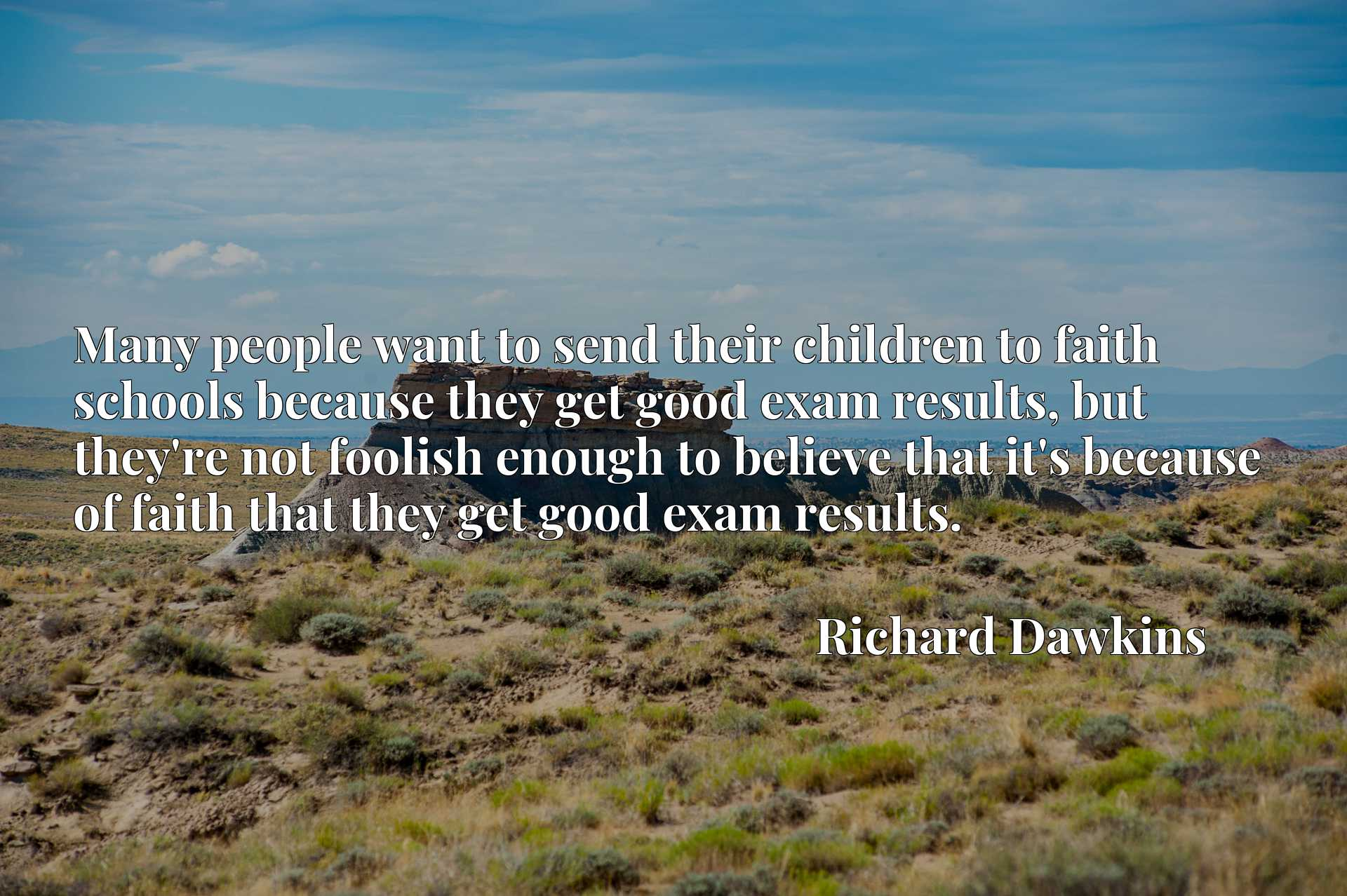 Many people want to send their children to faith schools because they get good exam results, but they're not foolish enough to believe that it's because of faith that they get good exam results.
