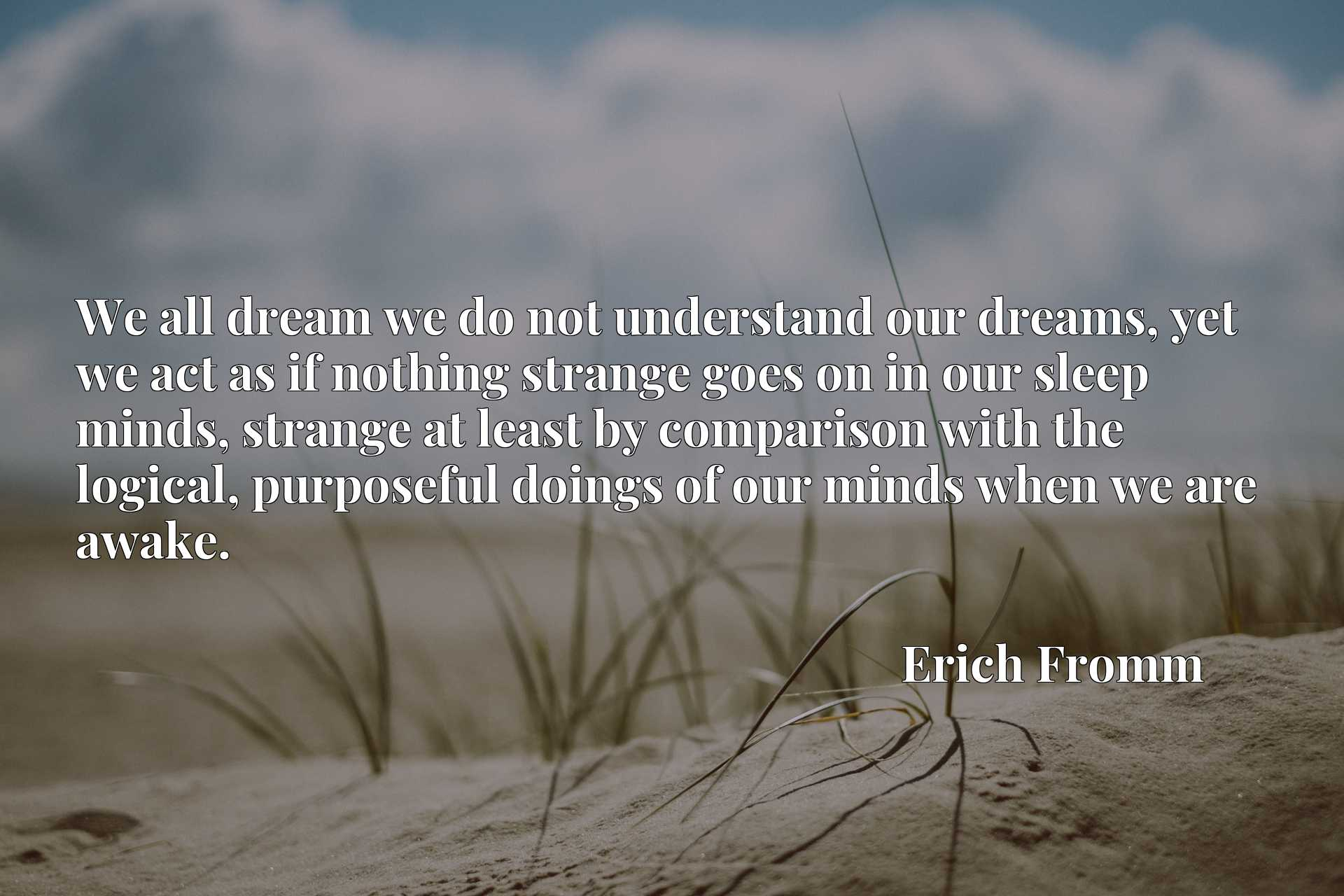 We all dream we do not understand our dreams, yet we act as if nothing strange goes on in our sleep minds, strange at least by comparison with the logical, purposeful doings of our minds when we are awake.