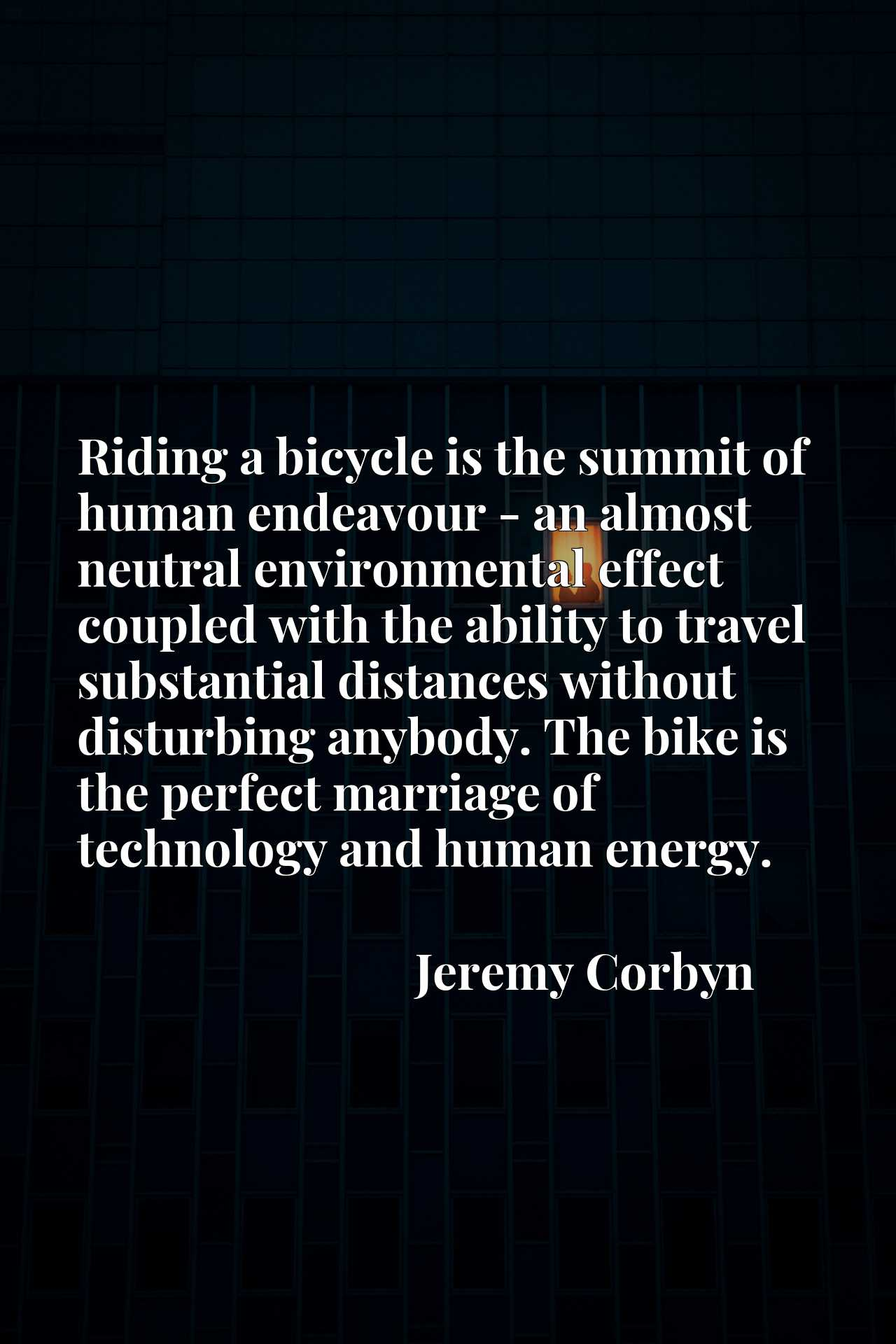 Riding a bicycle is the summit of human endeavour - an almost neutral environmental effect coupled with the ability to travel substantial distances without disturbing anybody. The bike is the perfect marriage of technology and human energy.
