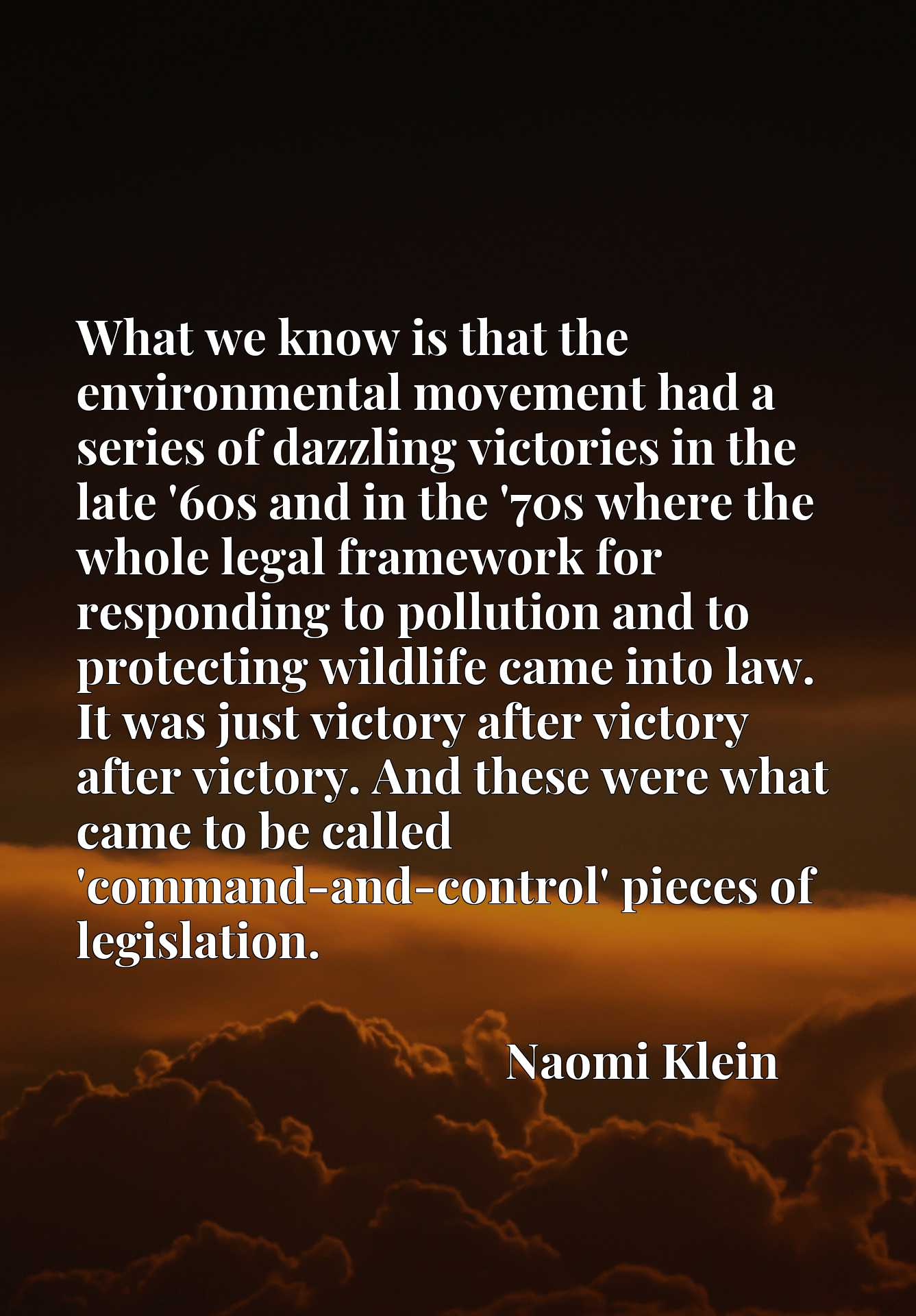 What we know is that the environmental movement had a series of dazzling victories in the late '60s and in the '70s where the whole legal framework for responding to pollution and to protecting wildlife came into law. It was just victory after victory after victory. And these were what came to be called 'command-and-control' pieces of legislation.
