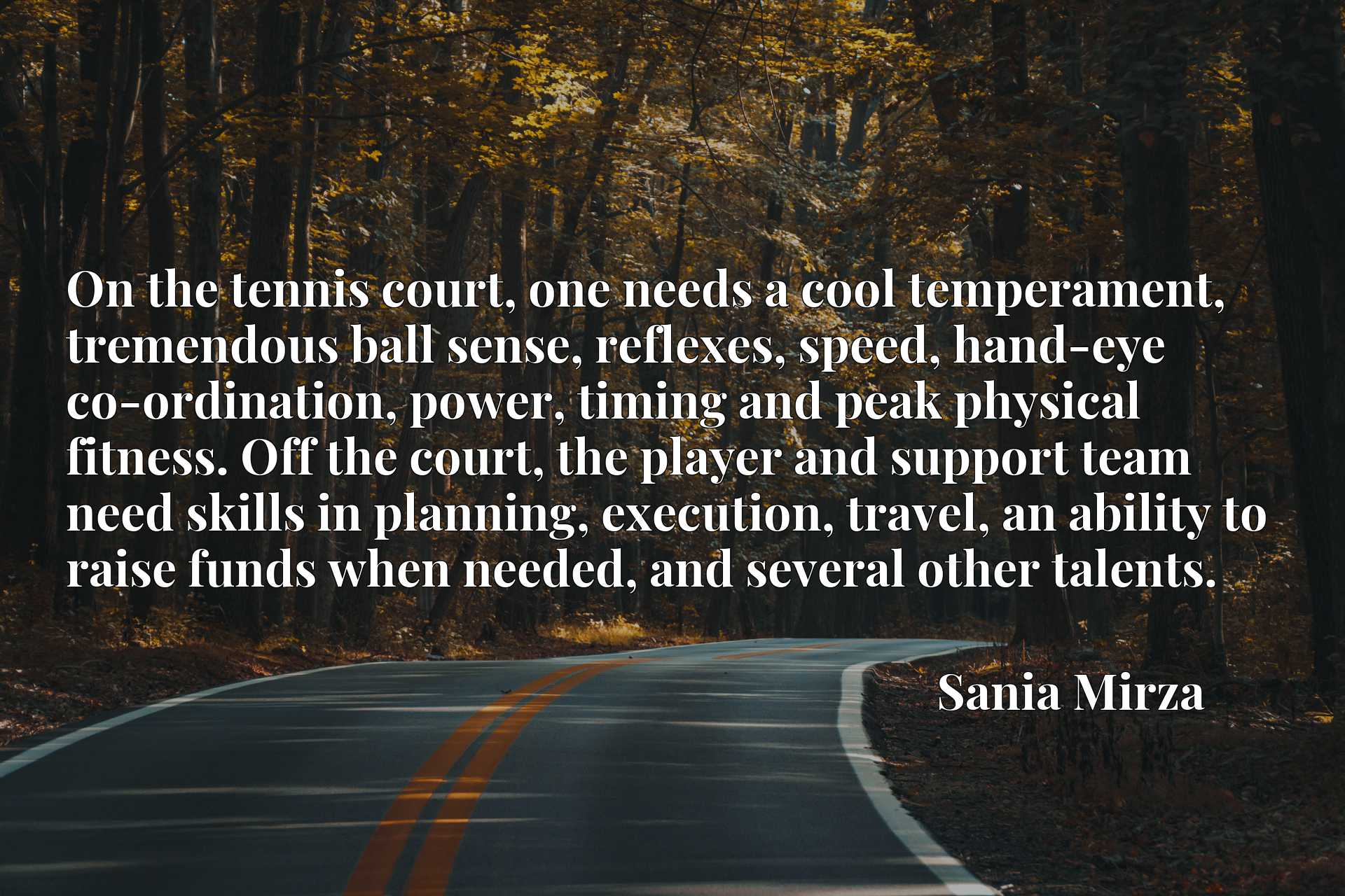 On the tennis court, one needs a cool temperament, tremendous ball sense, reflexes, speed, hand-eye co-ordination, power, timing and peak physical fitness. Off the court, the player and support team need skills in planning, execution, travel, an ability to raise funds when needed, and several other talents.