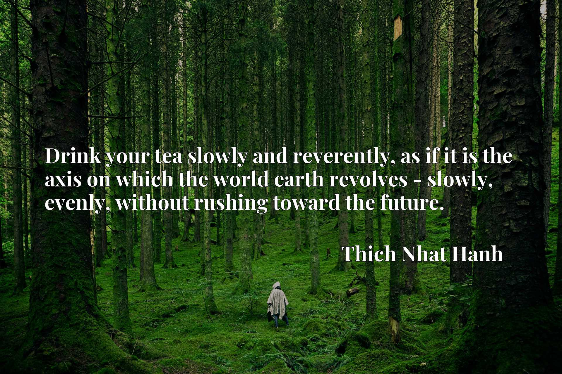 Drink your tea slowly and reverently, as if it is the axis on which the world earth revolves - slowly, evenly, without rushing toward the future.