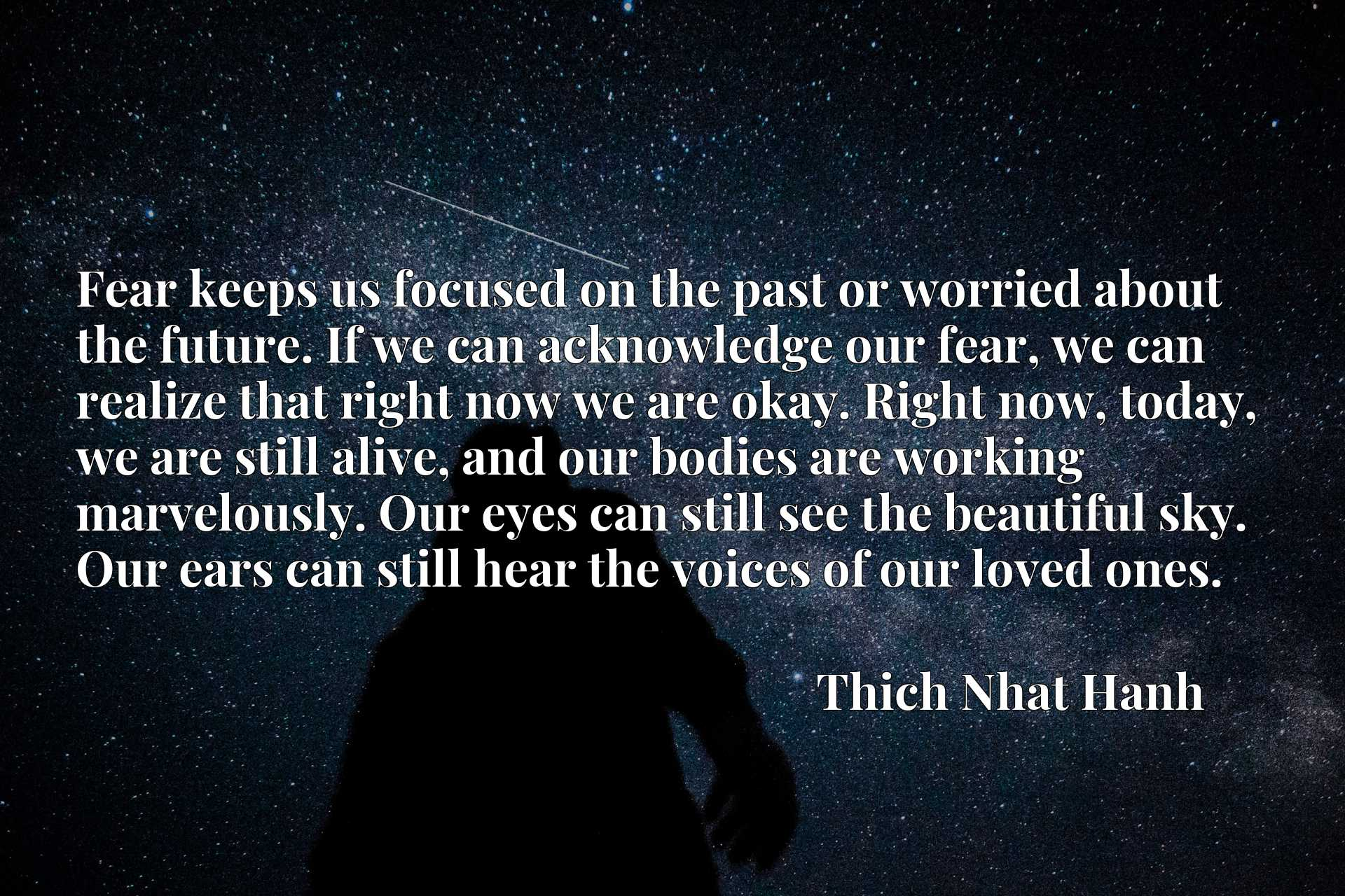 Fear keeps us focused on the past or worried about the future. If we can acknowledge our fear, we can realize that right now we are okay. Right now, today, we are still alive, and our bodies are working marvelously. Our eyes can still see the beautiful sky. Our ears can still hear the voices of our loved ones.