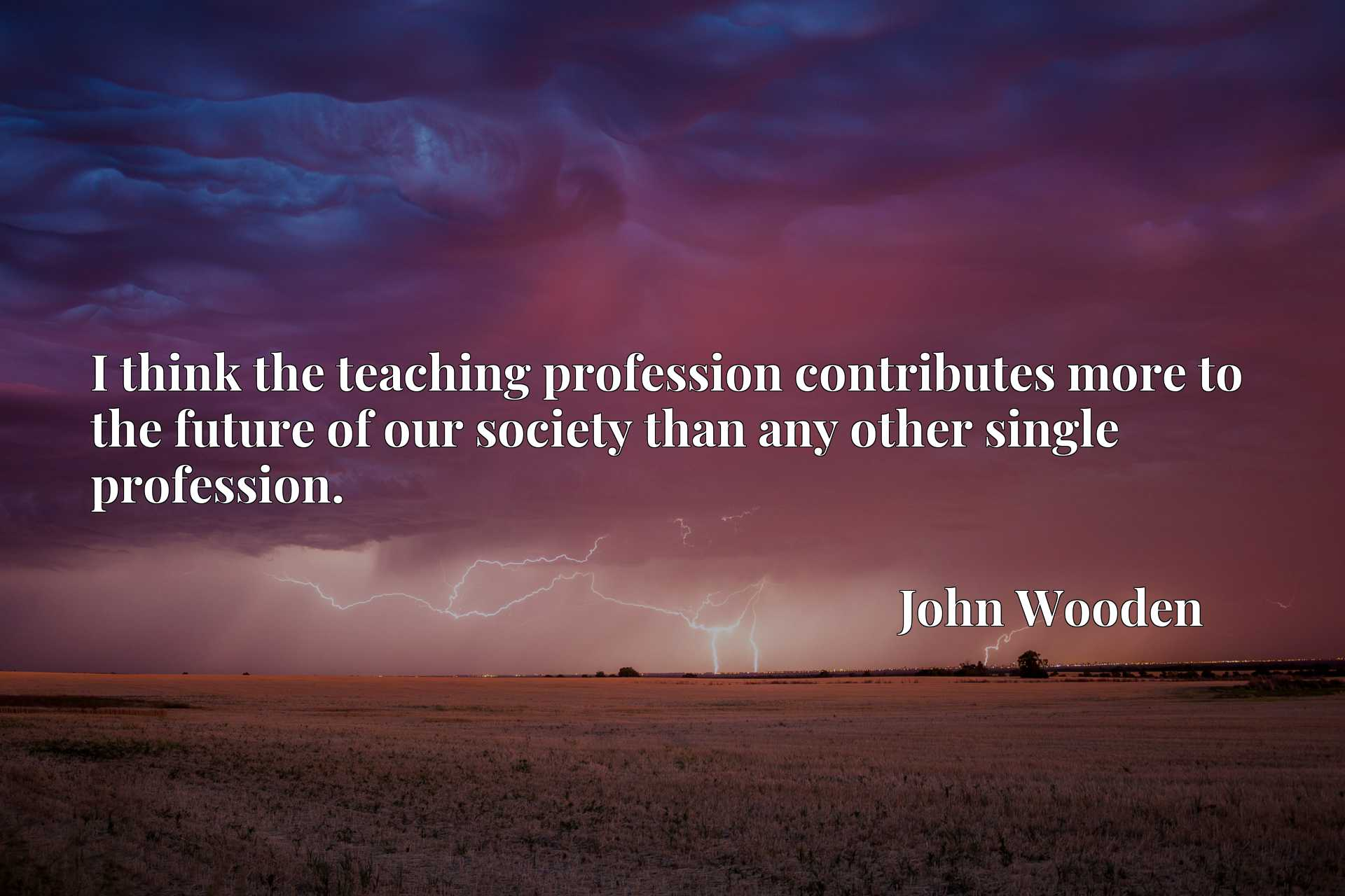 I think the teaching profession contributes more to the future of our society than any other single profession.