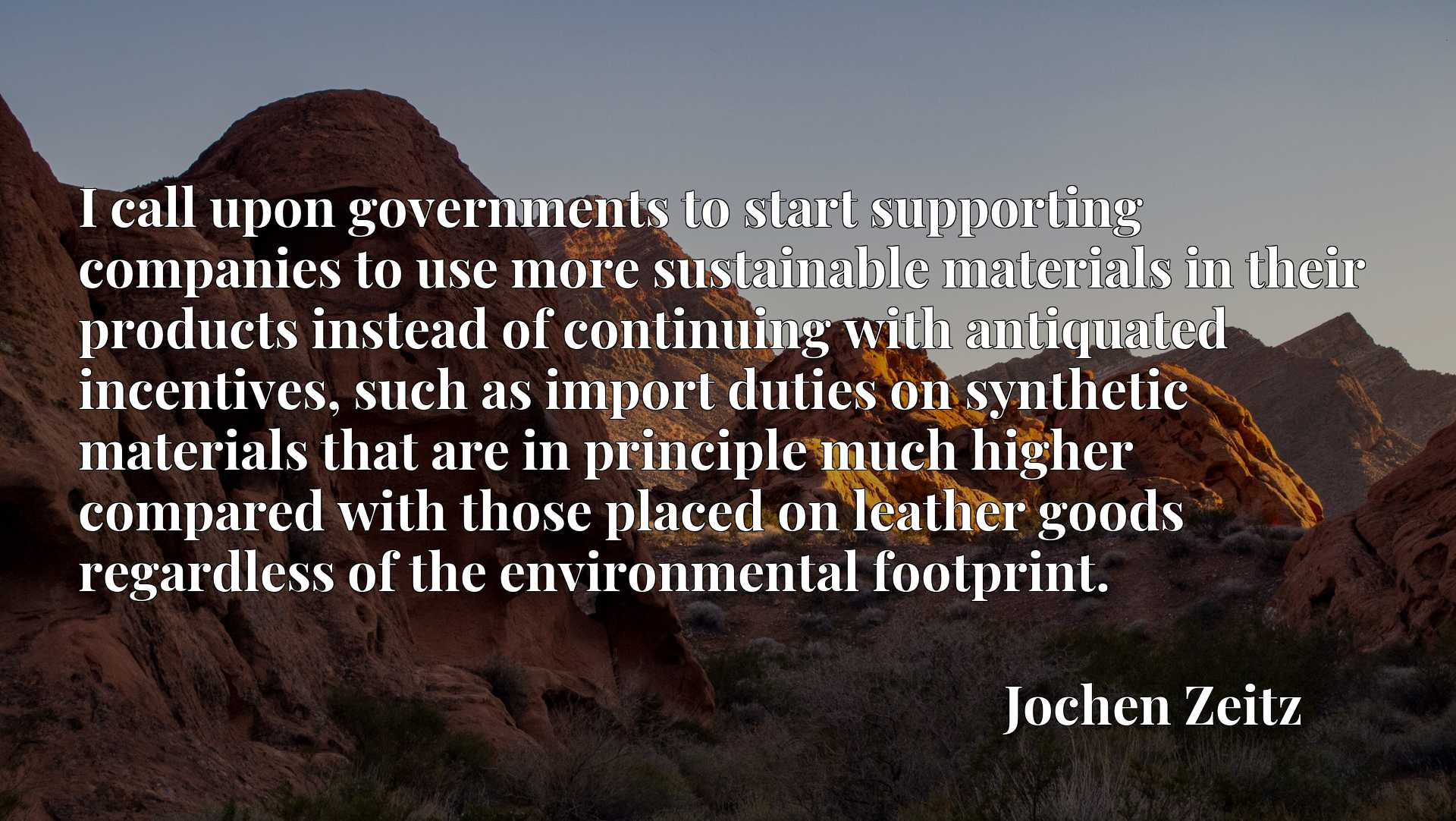 I call upon governments to start supporting companies to use more sustainable materials in their products instead of continuing with antiquated incentives, such as import duties on synthetic materials that are in principle much higher compared with those placed on leather goods regardless of the environmental footprint.