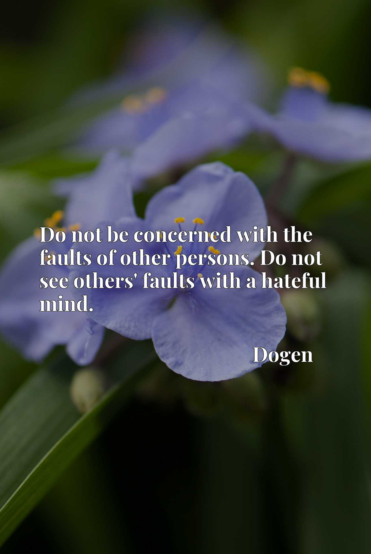 Do not be concerned with the faults of other persons. Do not see others' faults with a hateful mind.