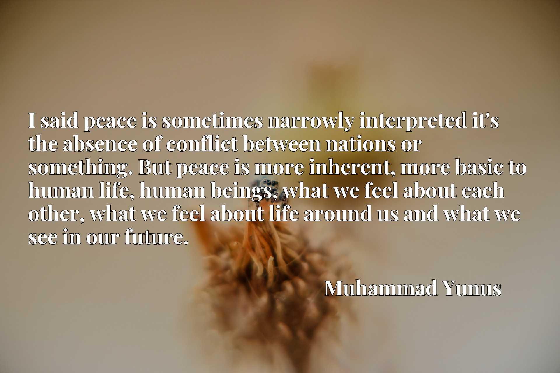 I said peace is sometimes narrowly interpreted it's the absence of conflict between nations or something. But peace is more inherent, more basic to human life, human beings, what we feel about each other, what we feel about life around us and what we see in our future.