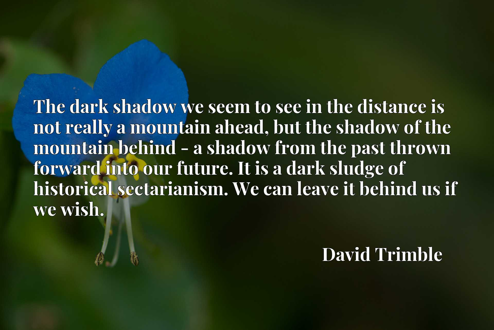 The dark shadow we seem to see in the distance is not really a mountain ahead, but the shadow of the mountain behind - a shadow from the past thrown forward into our future. It is a dark sludge of historical sectarianism. We can leave it behind us if we wish.