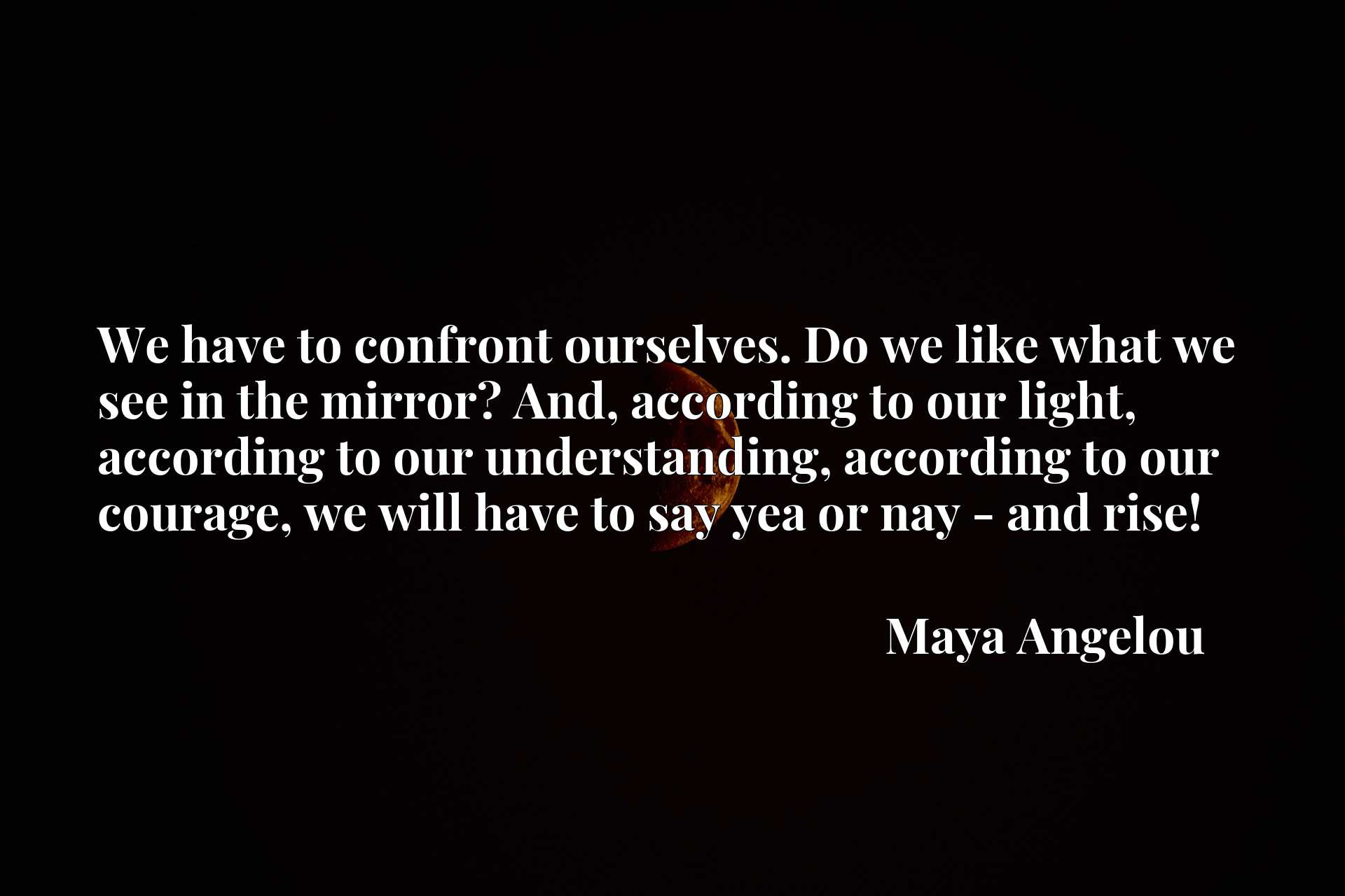 We have to confront ourselves. Do we like what we see in the mirror? And, according to our light, according to our understanding, according to our courage, we will have to say yea or nay - and rise!