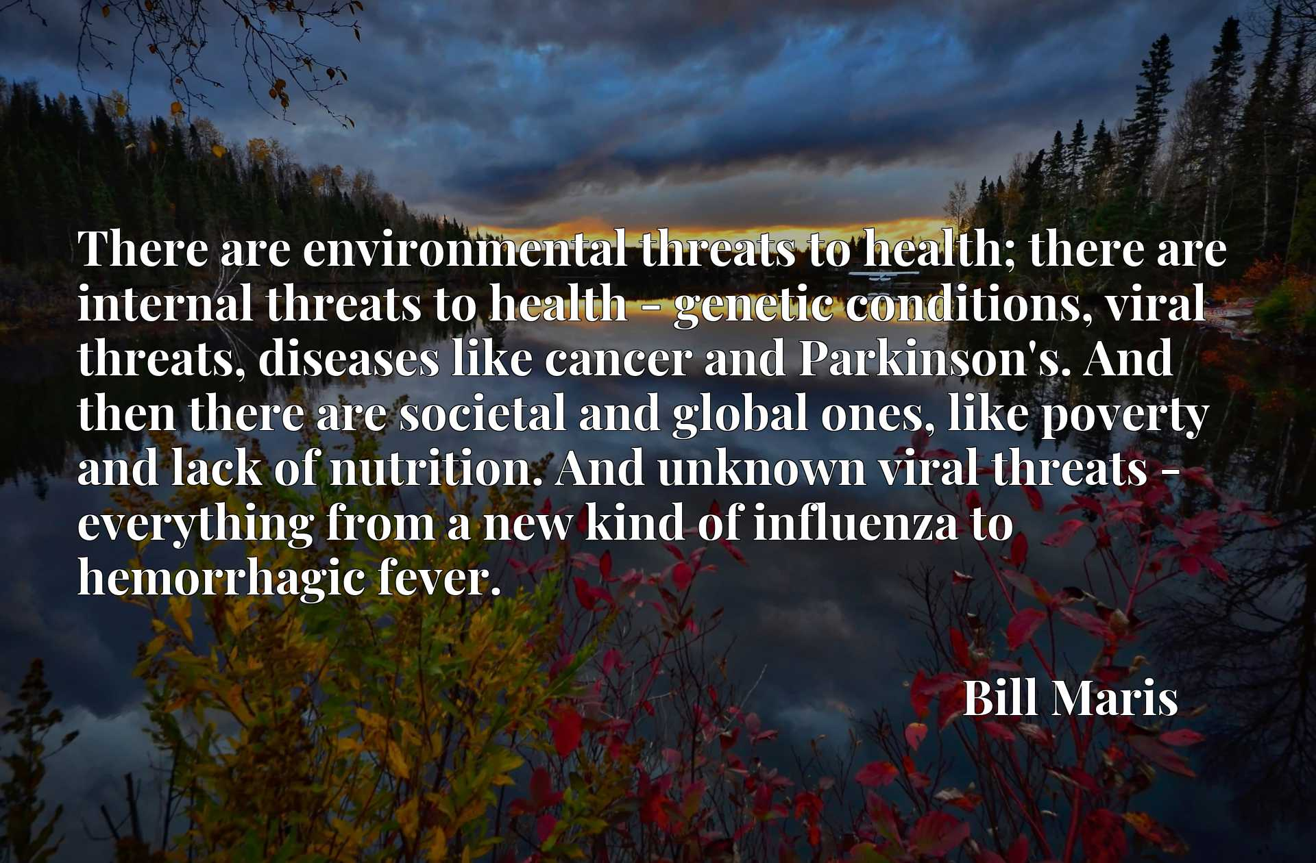 There are environmental threats to health; there are internal threats to health - genetic conditions, viral threats, diseases like cancer and Parkinson's. And then there are societal and global ones, like poverty and lack of nutrition. And unknown viral threats - everything from a new kind of influenza to hemorrhagic fever.