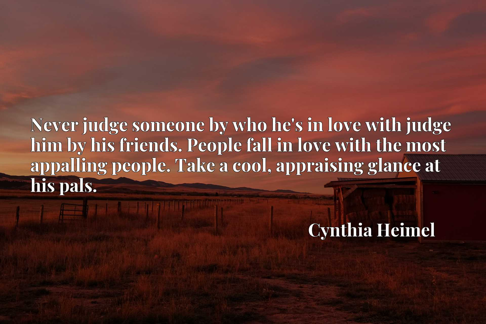 Never judge someone by who he's in love with judge him by his friends. People fall in love with the most appalling people. Take a cool, appraising glance at his pals.