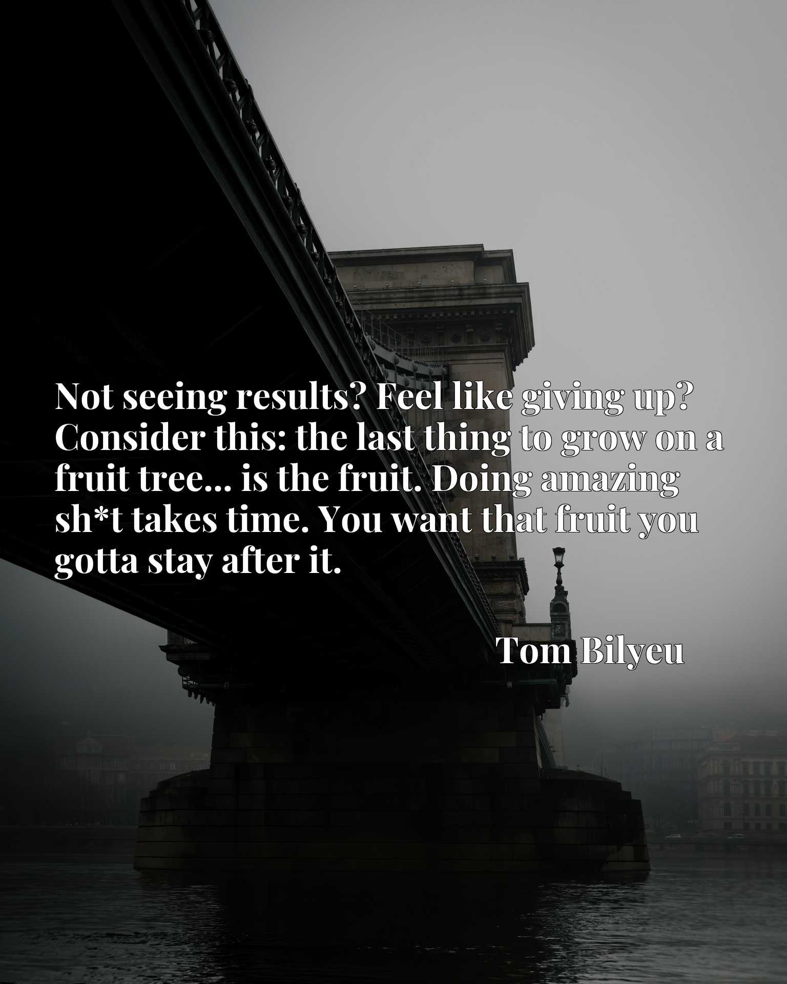 Not seeing results? Feel like giving up? Consider this: the last thing to grow on a fruit tree... is the fruit. Doing amazing sh*t takes time. You want that fruit you gotta stay after it.