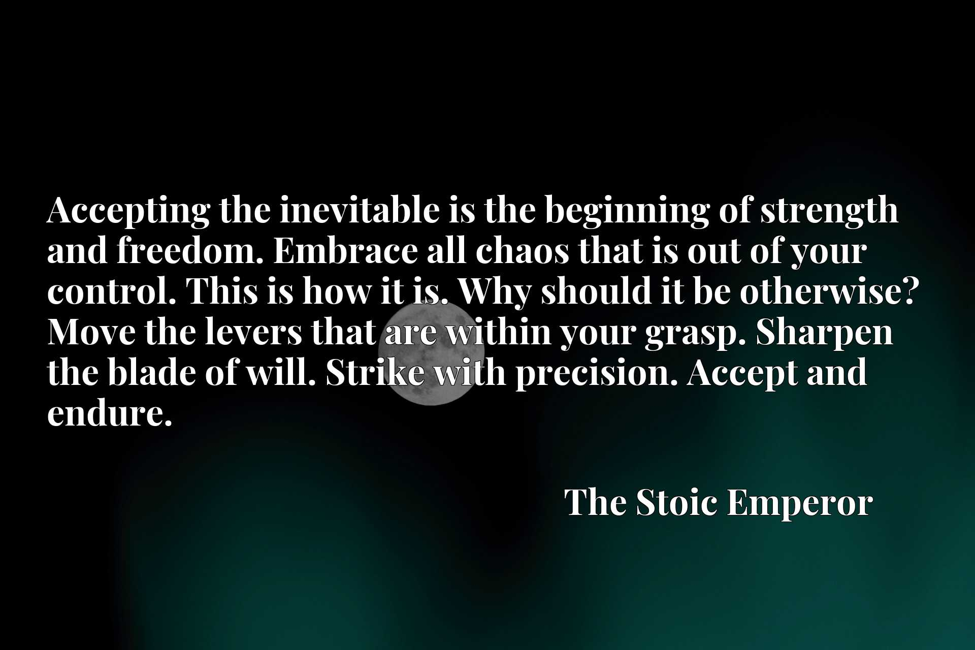 Accepting the inevitable is the beginning of strength and freedom. Embrace all chaos that is out of your control. This is how it is. Why should it be otherwise? Move the levers that are within your grasp. Sharpen the blade of will. Strike with precision. Accept and endure.