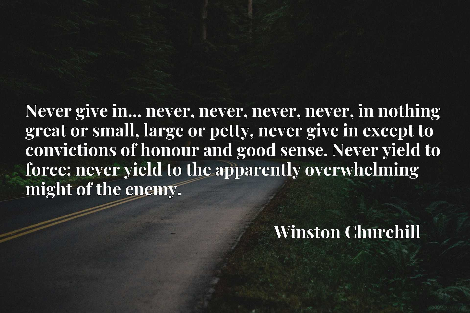 Never give in... never, never, never, never, in nothing great or small, large or petty, never give in except to convictions of honour and good sense. Never yield to force; never yield to the apparently overwhelming might of the enemy.