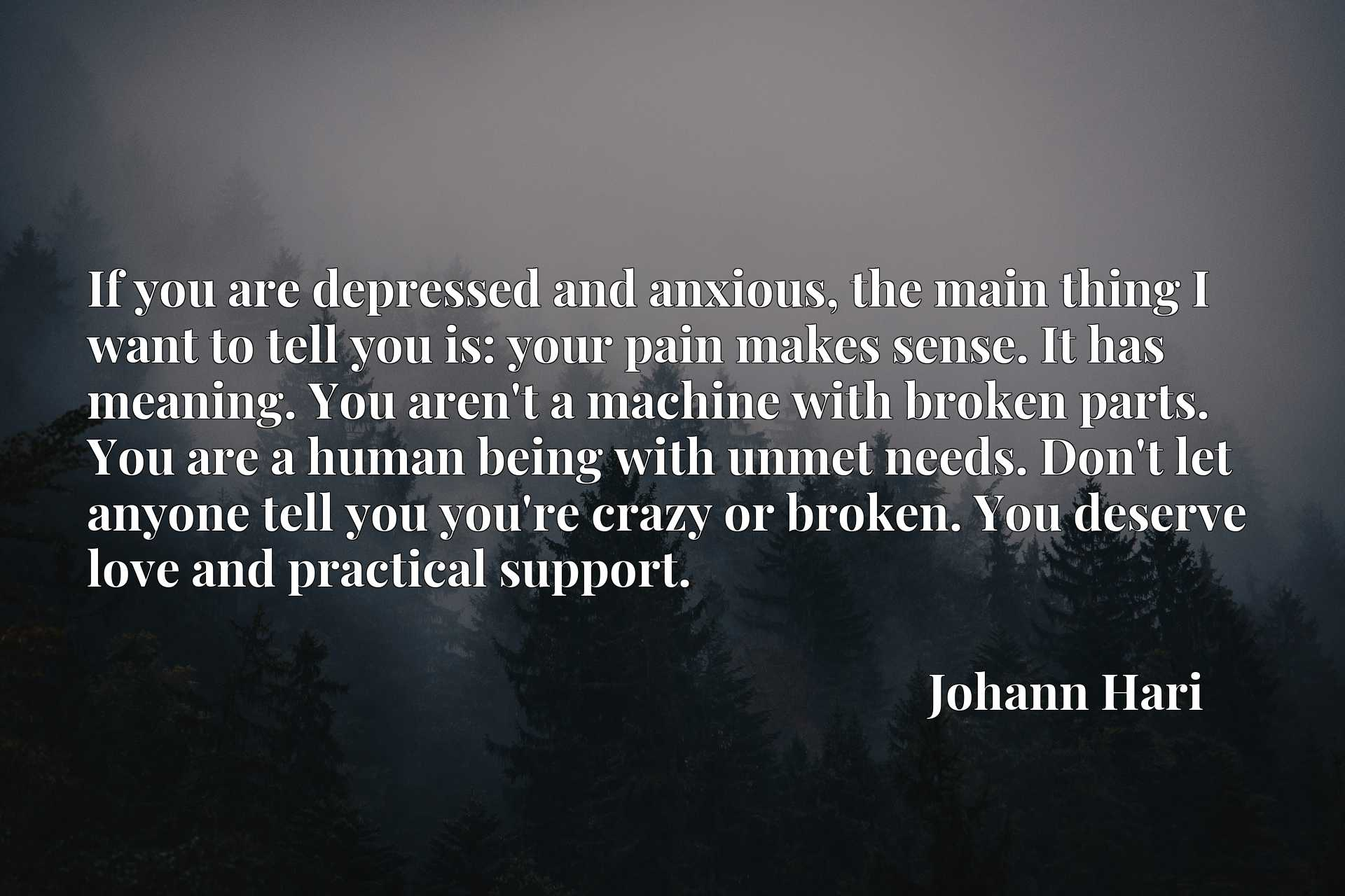 If you are depressed and anxious, the main thing I want to tell you is: your pain makes sense. It has meaning. You aren't a machine with broken parts. You are a human being with unmet needs. Don't let anyone tell you you're crazy or broken. You deserve love and practical support.