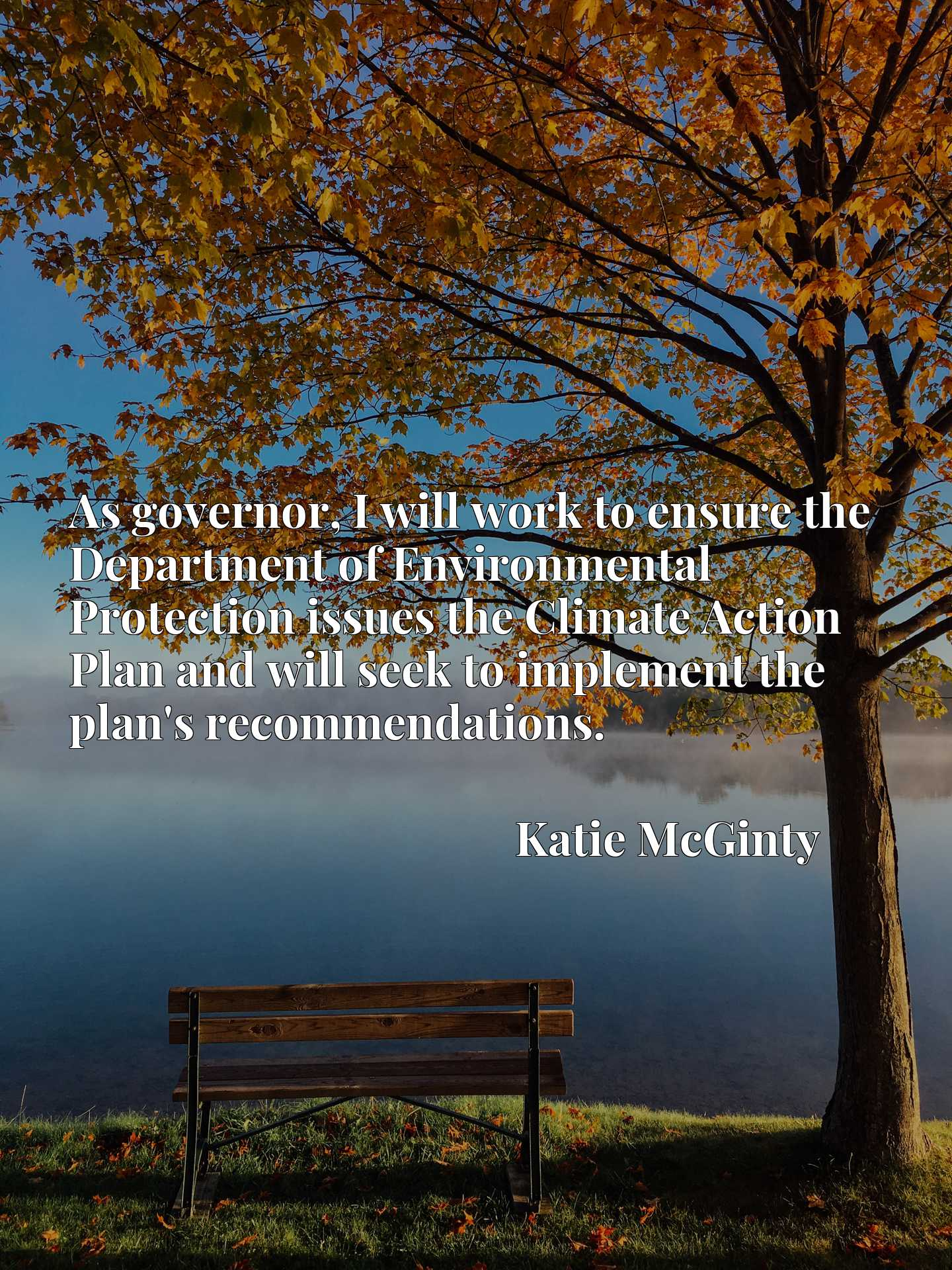 As governor, I will work to ensure the Department of Environmental Protection issues the Climate Action Plan and will seek to implement the plan's recommendations.