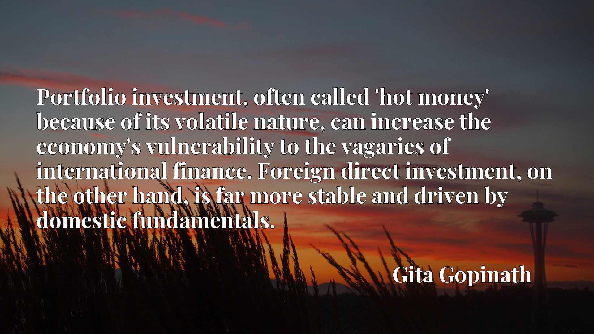 Portfolio investment, often called 'hot money' because of its volatile nature, can increase the economy's vulnerability to the vagaries of international finance. Foreign direct investment, on the other hand, is far more stable and driven by domestic fundamentals.