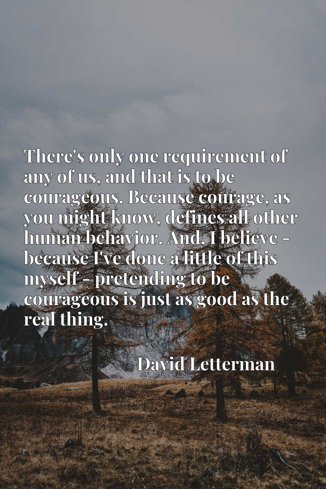 There's only one requirement of any of us, and that is to be courageous. Because courage, as you might know, defines all other human behavior. And, I believe - because I've done a little of this myself - pretending to be courageous is just as good as the real thing.