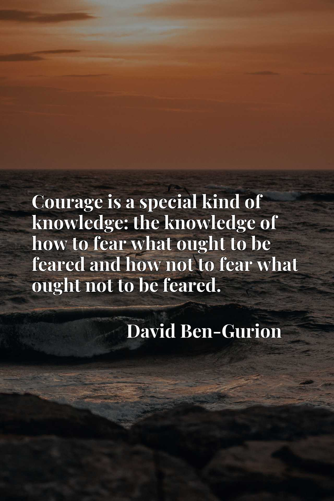 Courage is a special kind of knowledge: the knowledge of how to fear what ought to be feared and how not to fear what ought not to be feared.