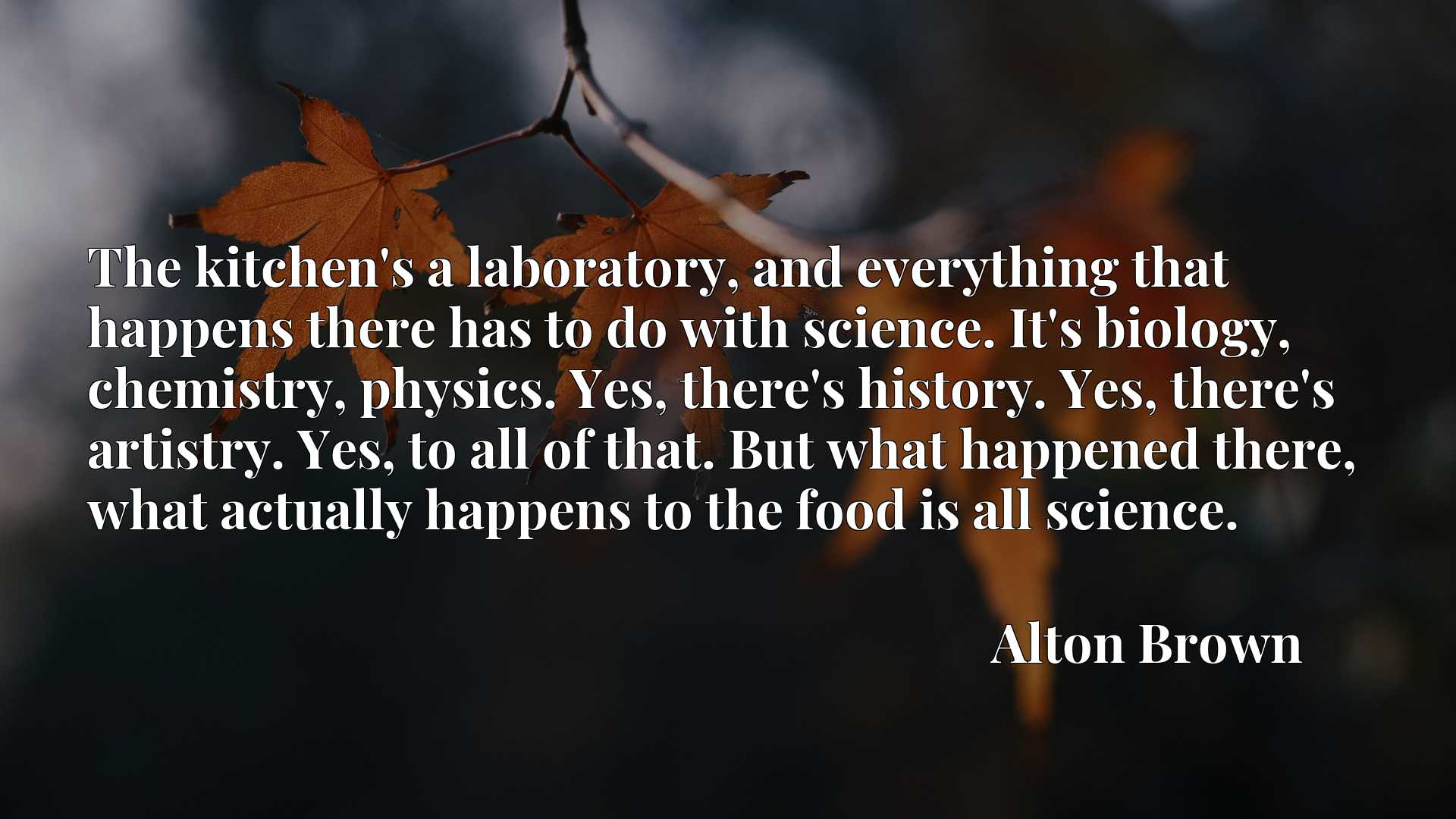 The kitchen's a laboratory, and everything that happens there has to do with science. It's biology, chemistry, physics. Yes, there's history. Yes, there's artistry. Yes, to all of that. But what happened there, what actually happens to the food is all science.