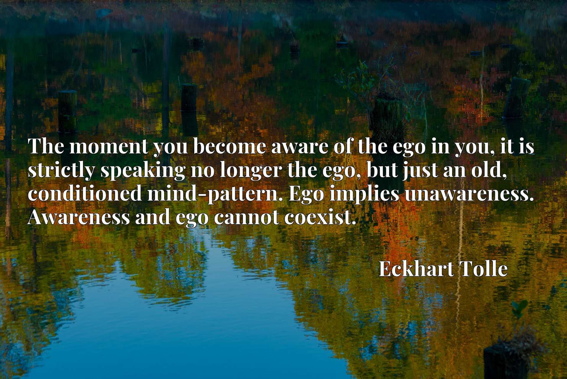The moment you become aware of the ego in you, it is strictly speaking no longer the ego, but just an old, conditioned mind-pattern. Ego implies unawareness. Awareness and ego cannot coexist.