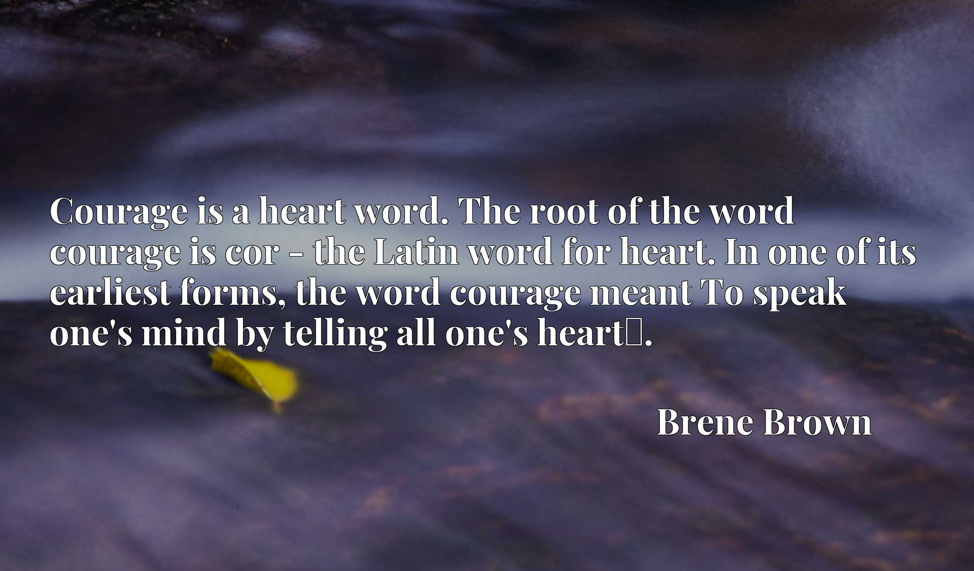Courage is a heart word. The root of the word courage is cor - the Latin word for heart. In one of its earliest forms, the word courage meant To speak one's mind by telling all one's heartx9d.