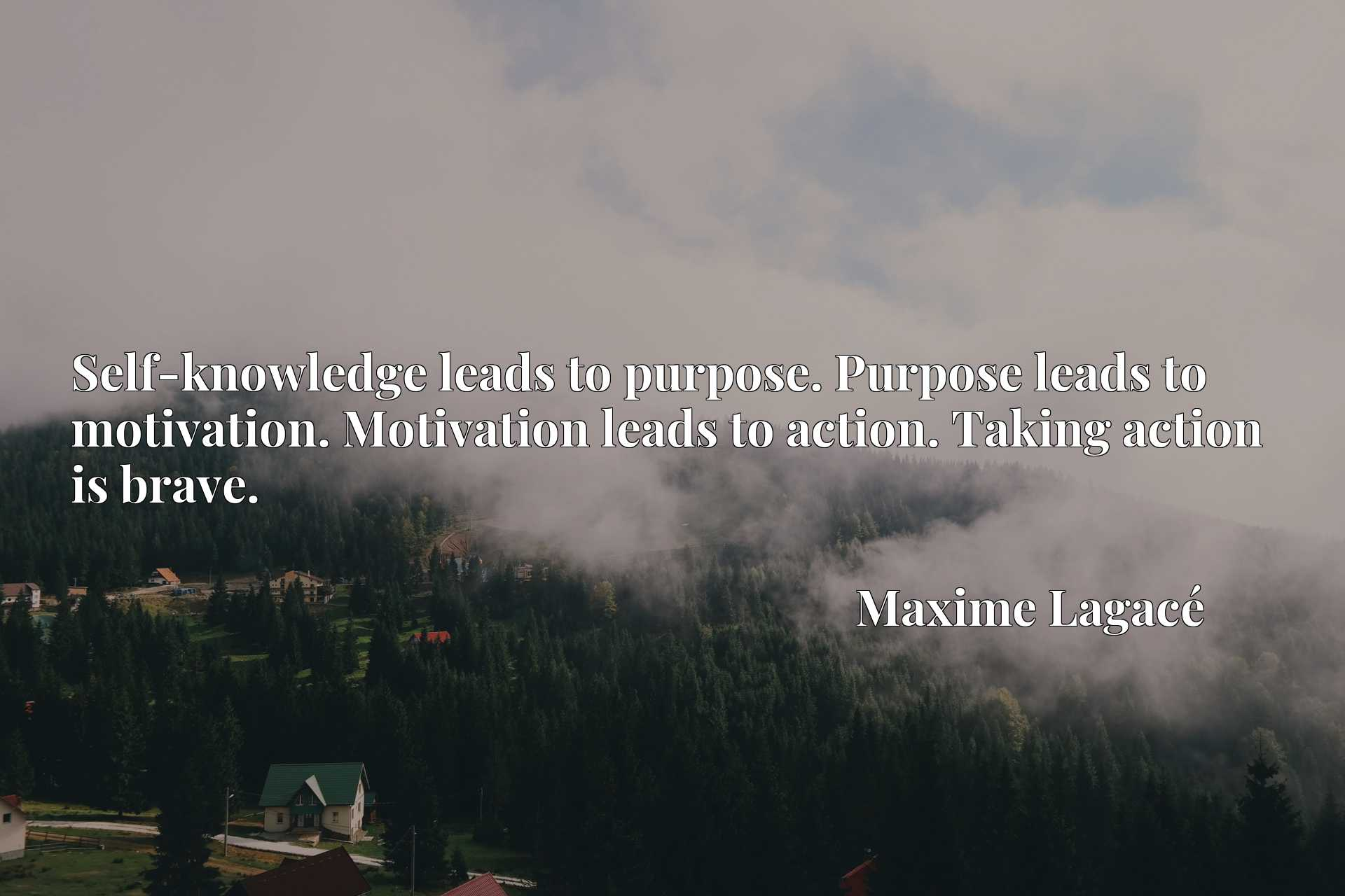 Self-knowledge leads to purpose. Purpose leads to motivation. Motivation leads to action. Taking action is brave.