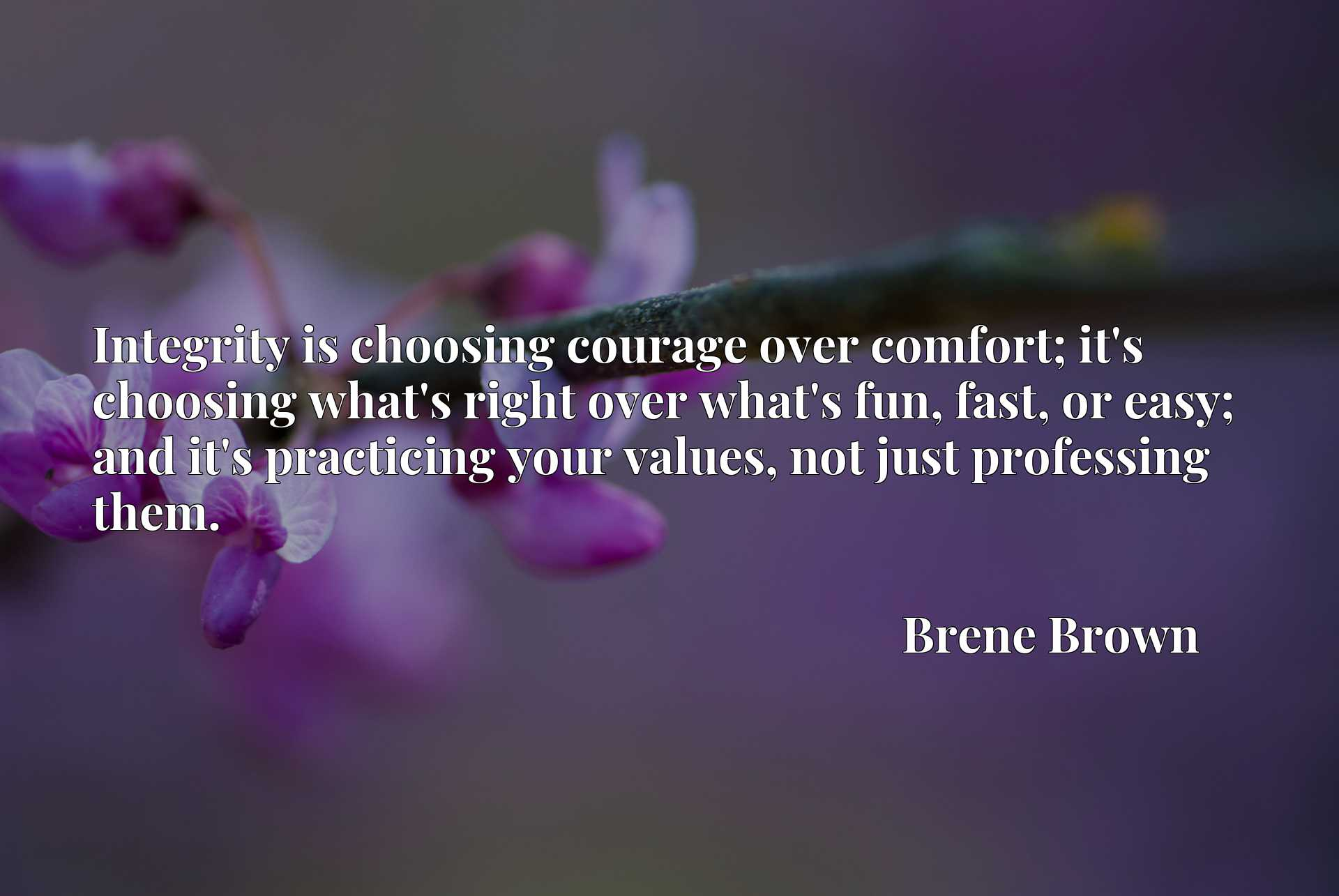 Integrity is choosing courage over comfort; it's choosing what's right over what's fun, fast, or easy; and it's practicing your values, not just professing them.