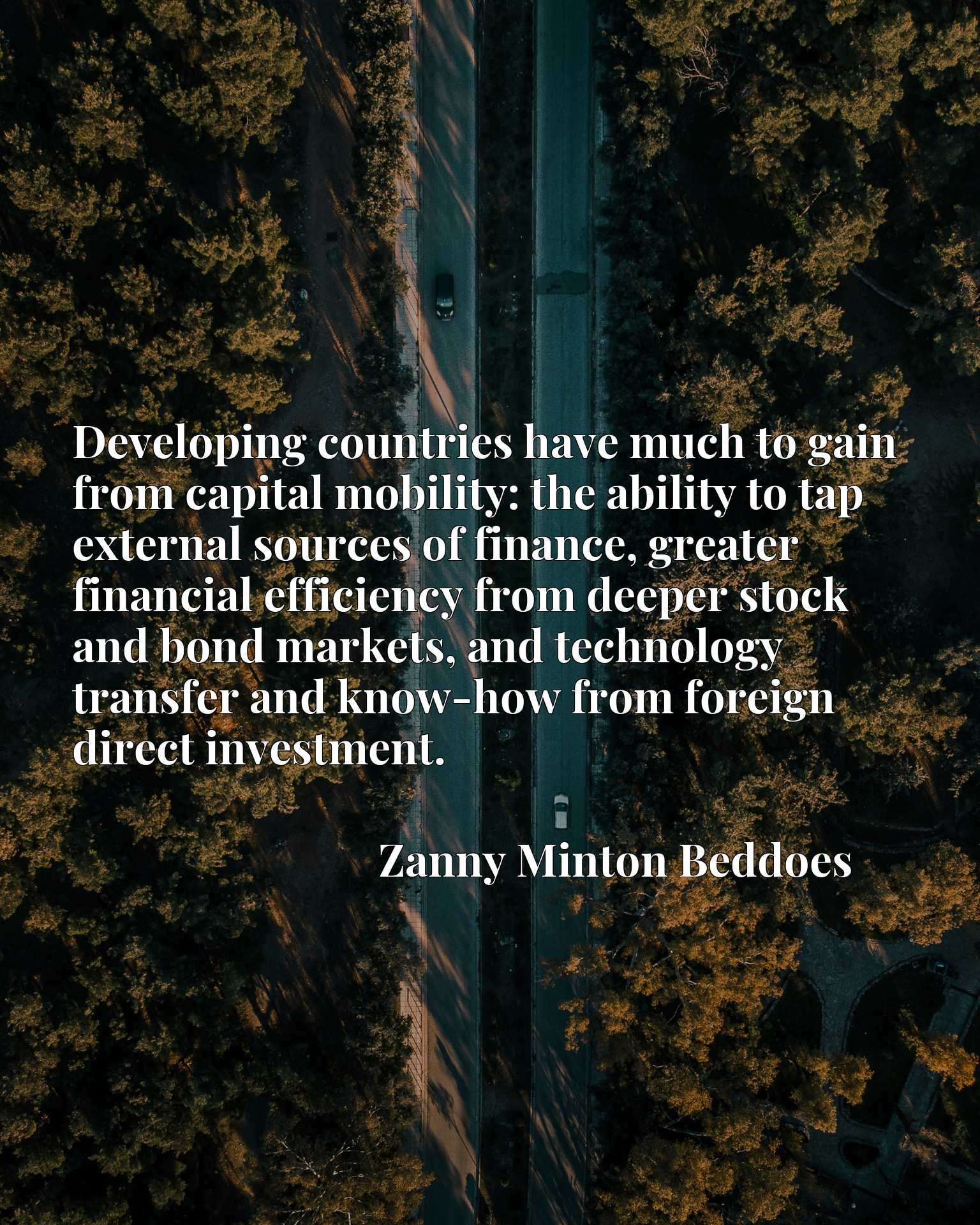 Developing countries have much to gain from capital mobility: the ability to tap external sources of finance, greater financial efficiency from deeper stock and bond markets, and technology transfer and know-how from foreign direct investment.