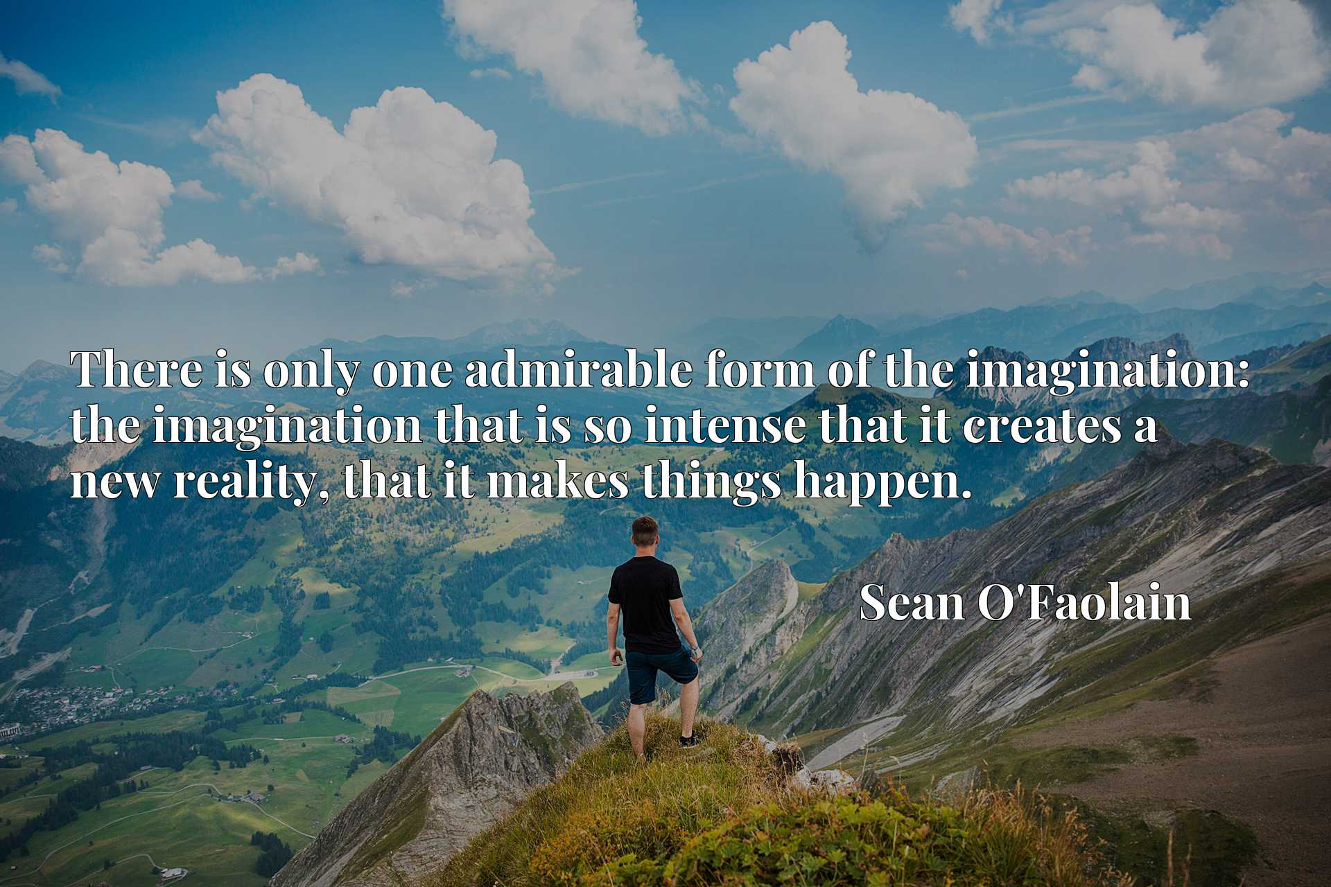 There is only one admirable form of the imagination: the imagination that is so intense that it creates a new reality, that it makes things happen.