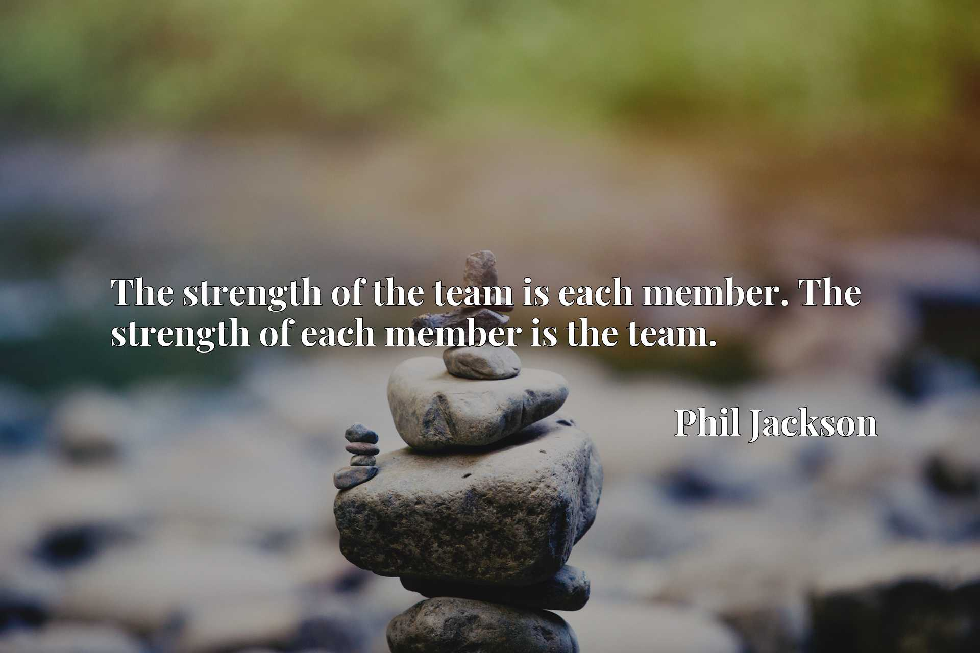 The strength of the team is each member. The strength of each member is the team.