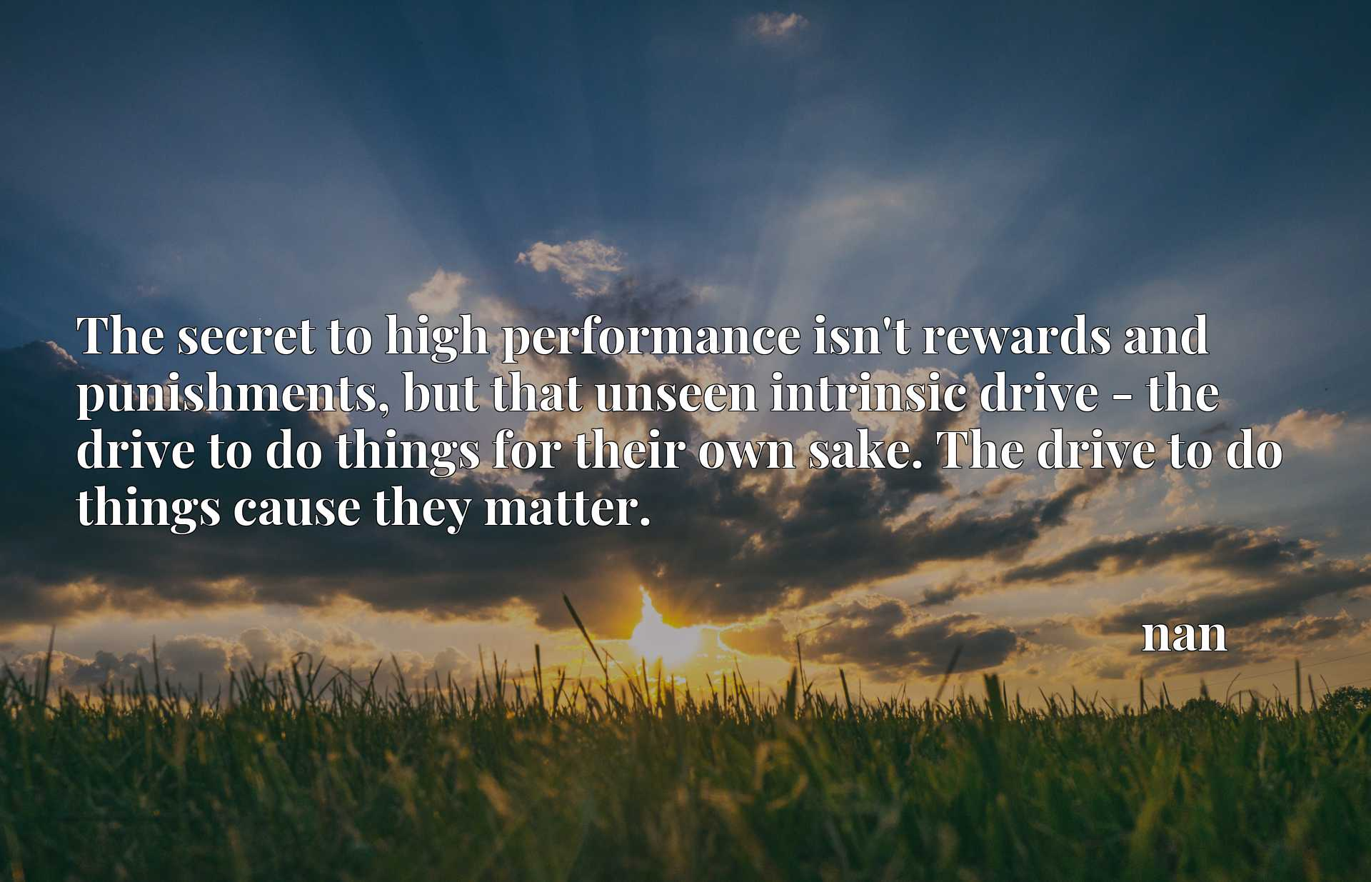 The secret to high performance isn't rewards and punishments, but that unseen intrinsic drive - the drive to do things for their own sake. The drive to do things cause they matter.