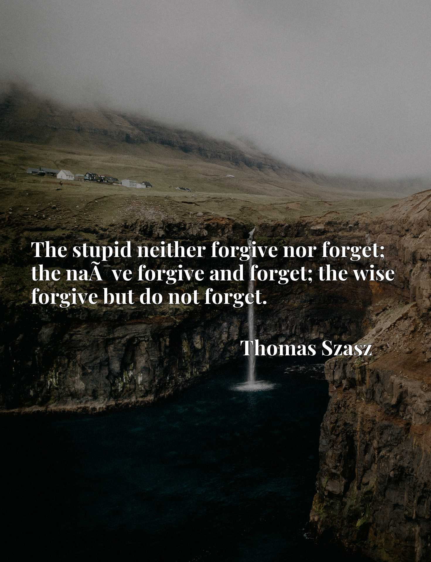 The stupid neither forgive nor forget; the naA-ve forgive and forget; the wise forgive but do not forget.