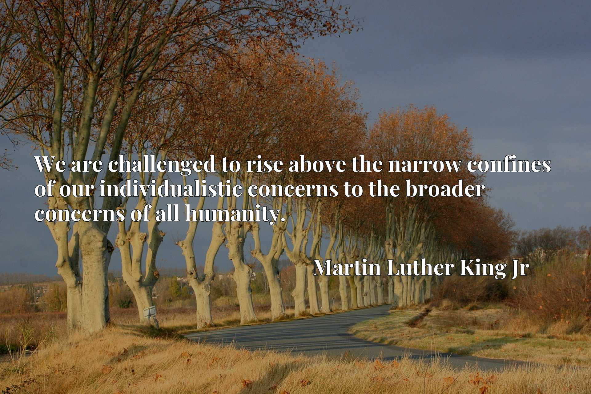 We are challenged to rise above the narrow confines of our individualistic concerns to the broader concerns of all humanity.