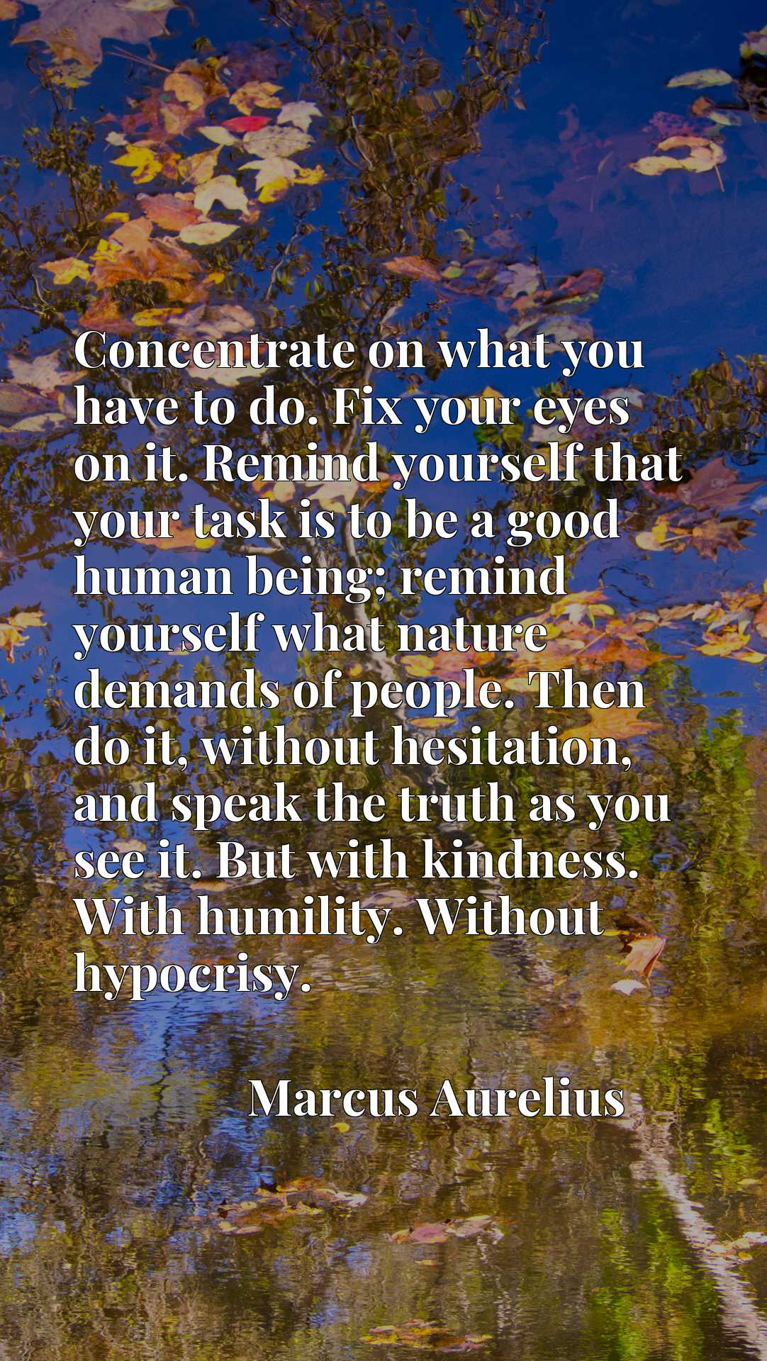 Concentrate on what you have to do. Fix your eyes on it. Remind yourself that your task is to be a good human being; remind yourself what nature demands of people. Then do it, without hesitation, and speak the truth as you see it. But with kindness. With humility. Without hypocrisy.