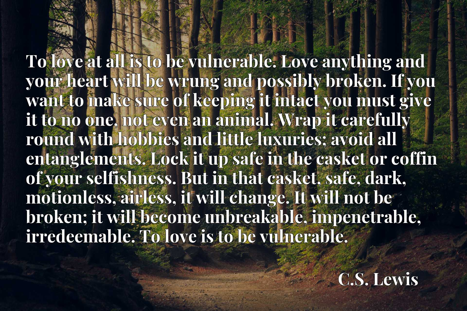 To love at all is to be vulnerable. Love anything and your heart will be wrung and possibly broken. If you want to make sure of keeping it intact you must give it to no one, not even an animal. Wrap it carefully round with hobbies and little luxuries; avoid all entanglements. Lock it up safe in the casket or coffin of your selfishness. But in that casket, safe, dark, motionless, airless, it will change. It will not be broken; it will become unbreakable, impenetrable, irredeemable. To love is to be vulnerable.