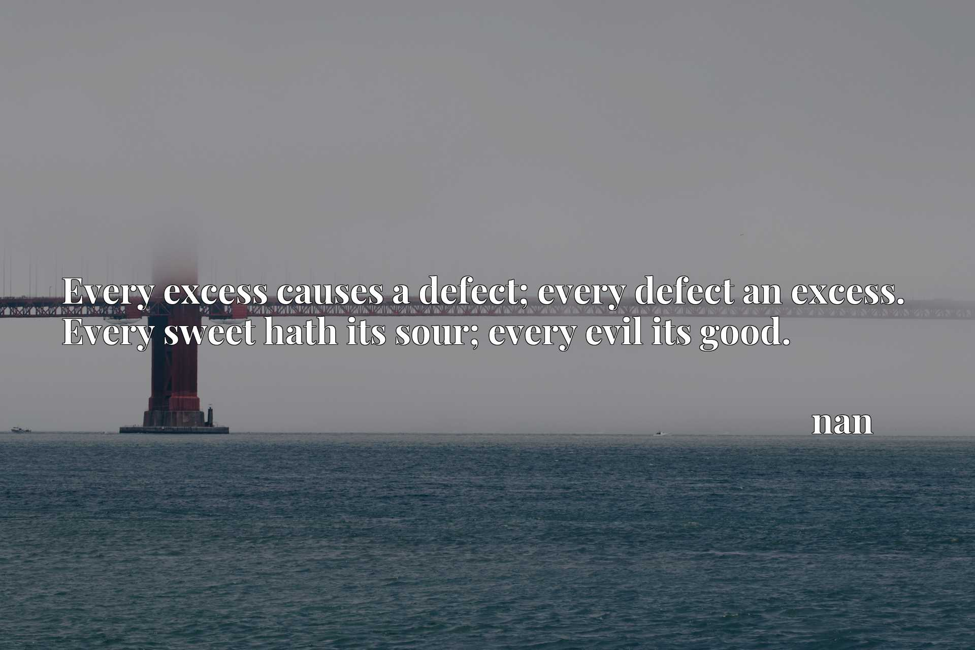 Every excess causes a defect; every defect an excess. Every sweet hath its sour; every evil its good.