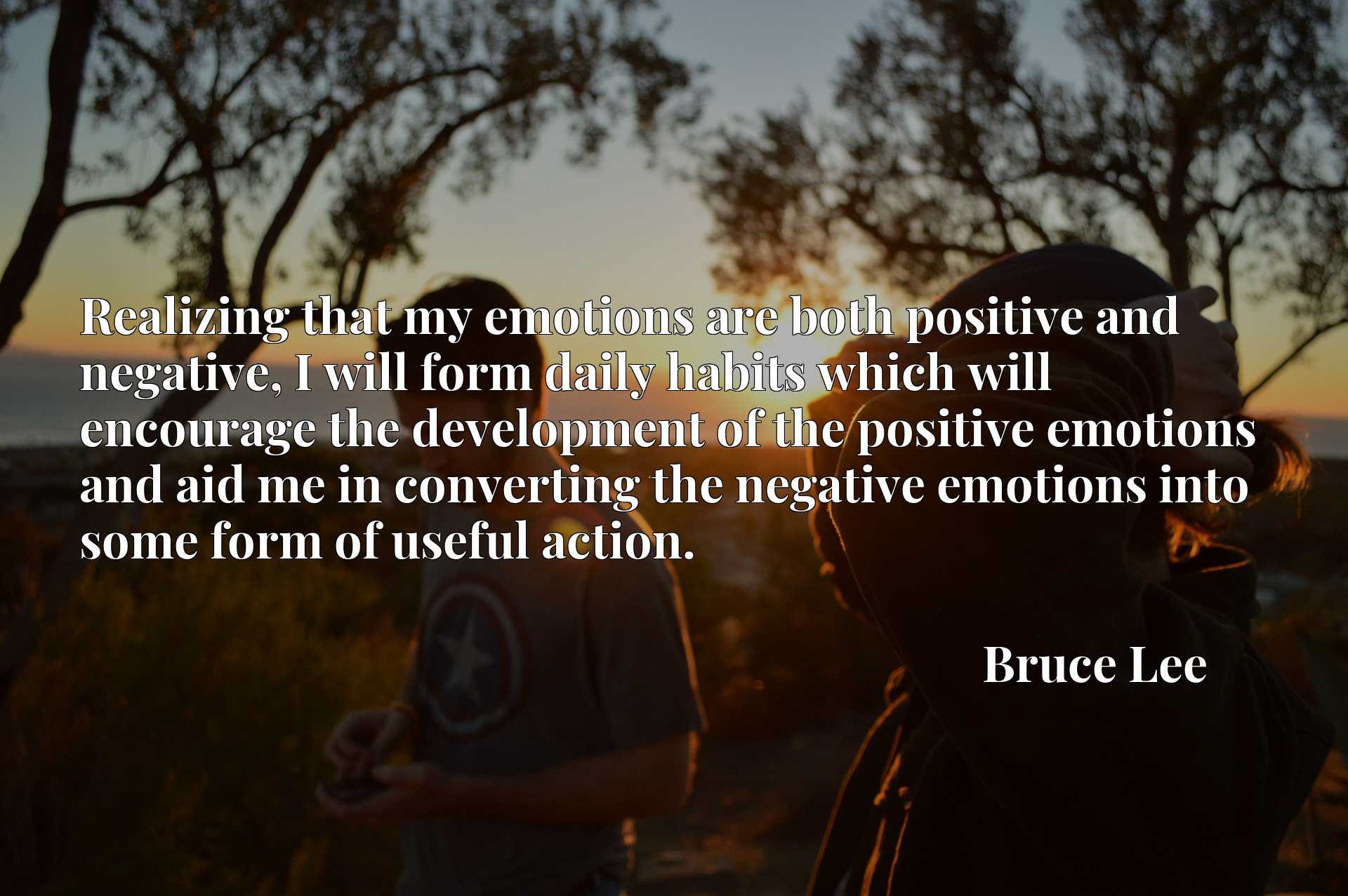 Realizing that my emotions are both positive and negative, I will form daily habits which will encourage the development of the positive emotions and aid me in converting the negative emotions into some form of useful action.