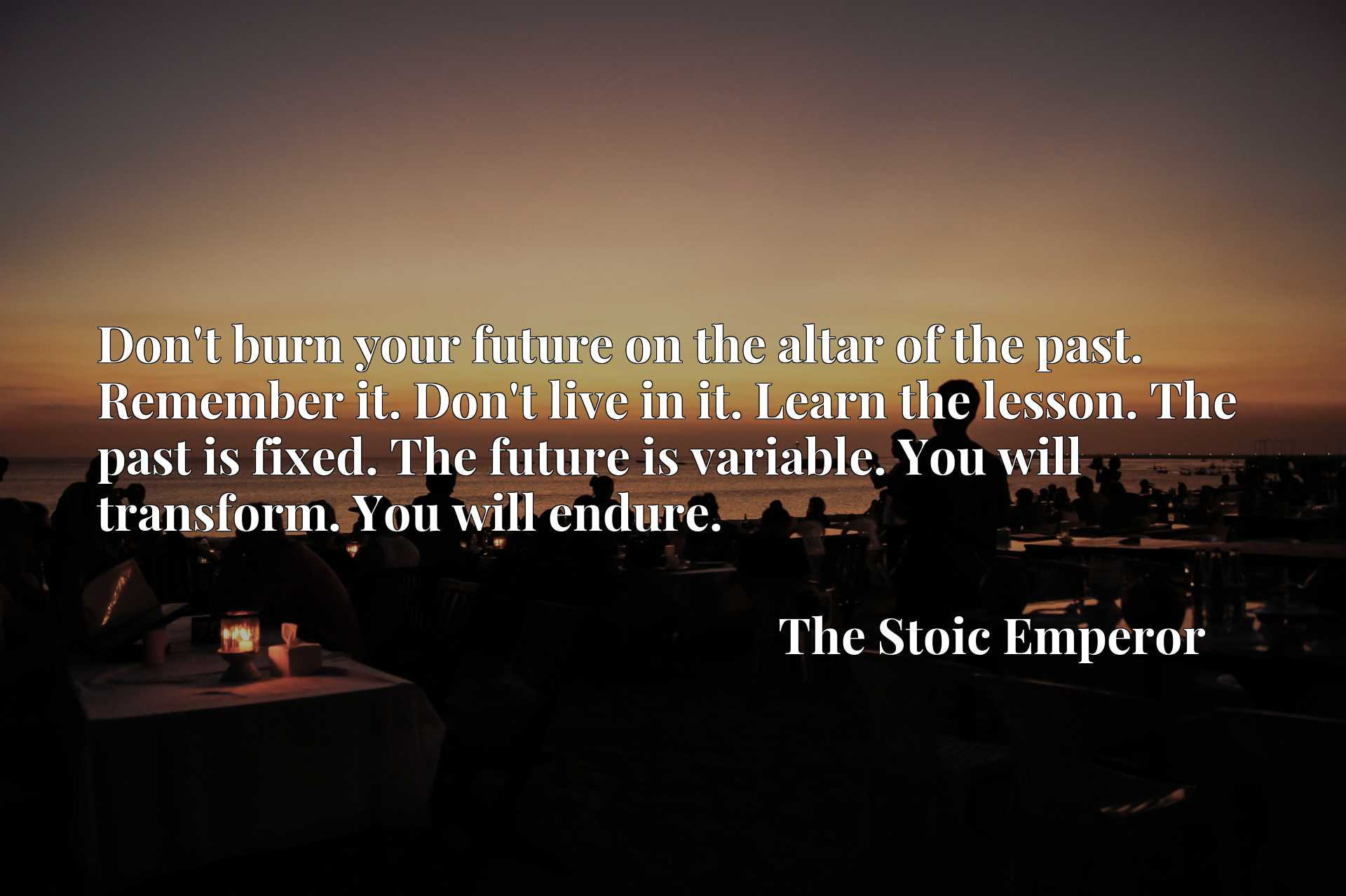Don't burn your future on the altar of the past. Remember it. Don't live in it. Learn the lesson. The past is fixed. The future is variable. You will transform. You will endure.